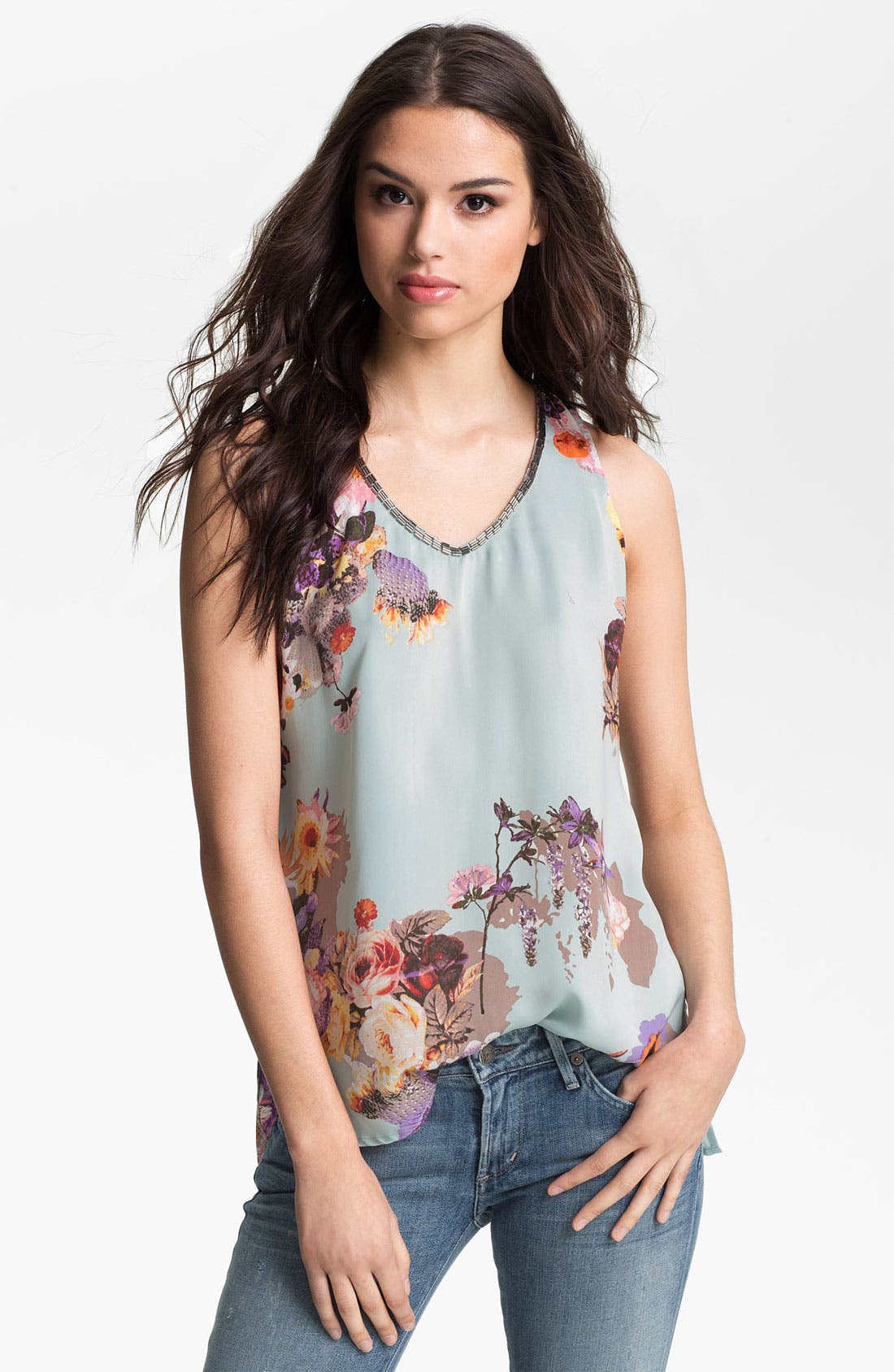 Alternate Image 1 Selected - Collective Concepts Bead Trim Floral Print Tank