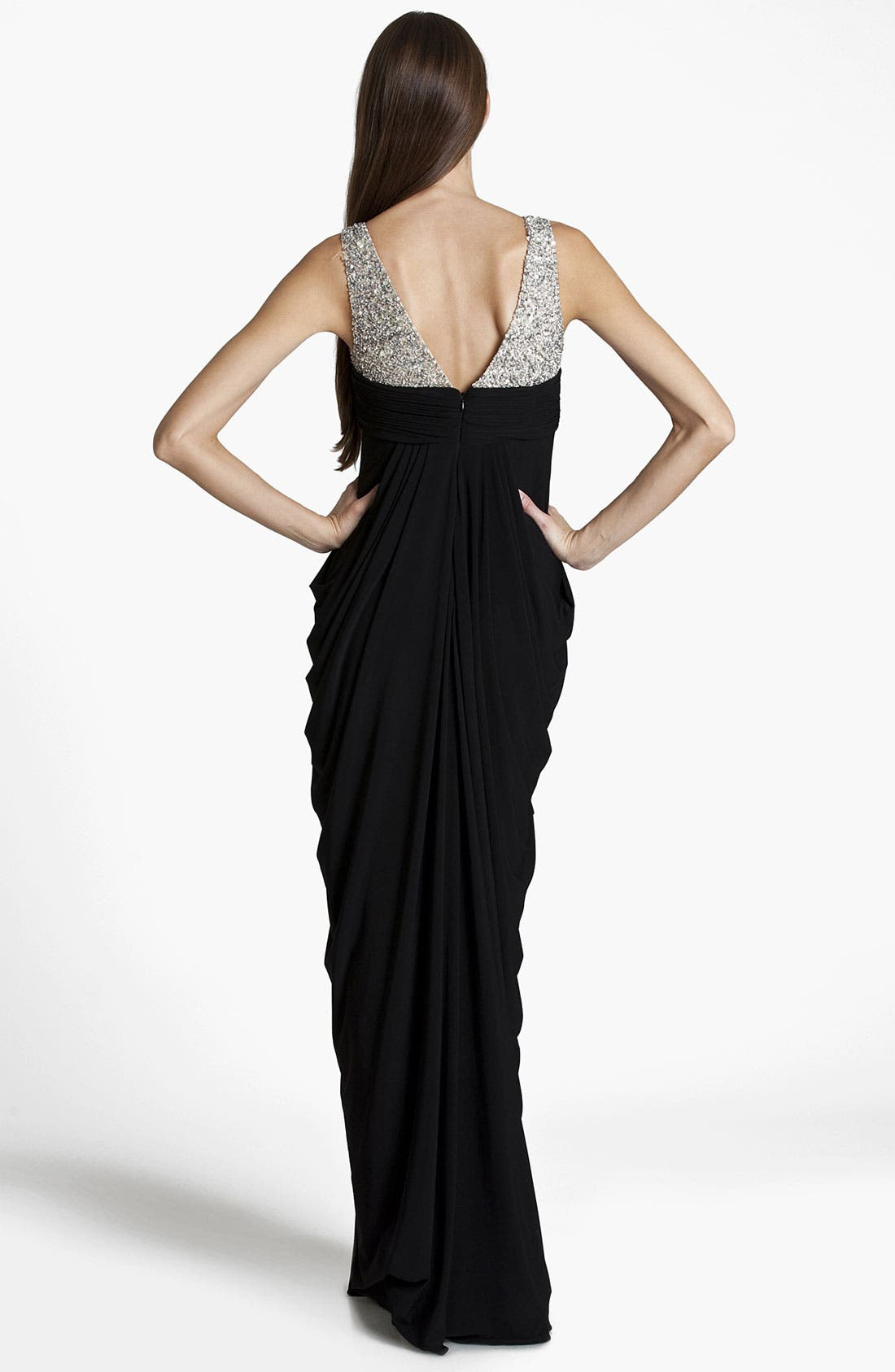 Alternate Image 2  - JS Boutique Embellished Draped Jersey Gown