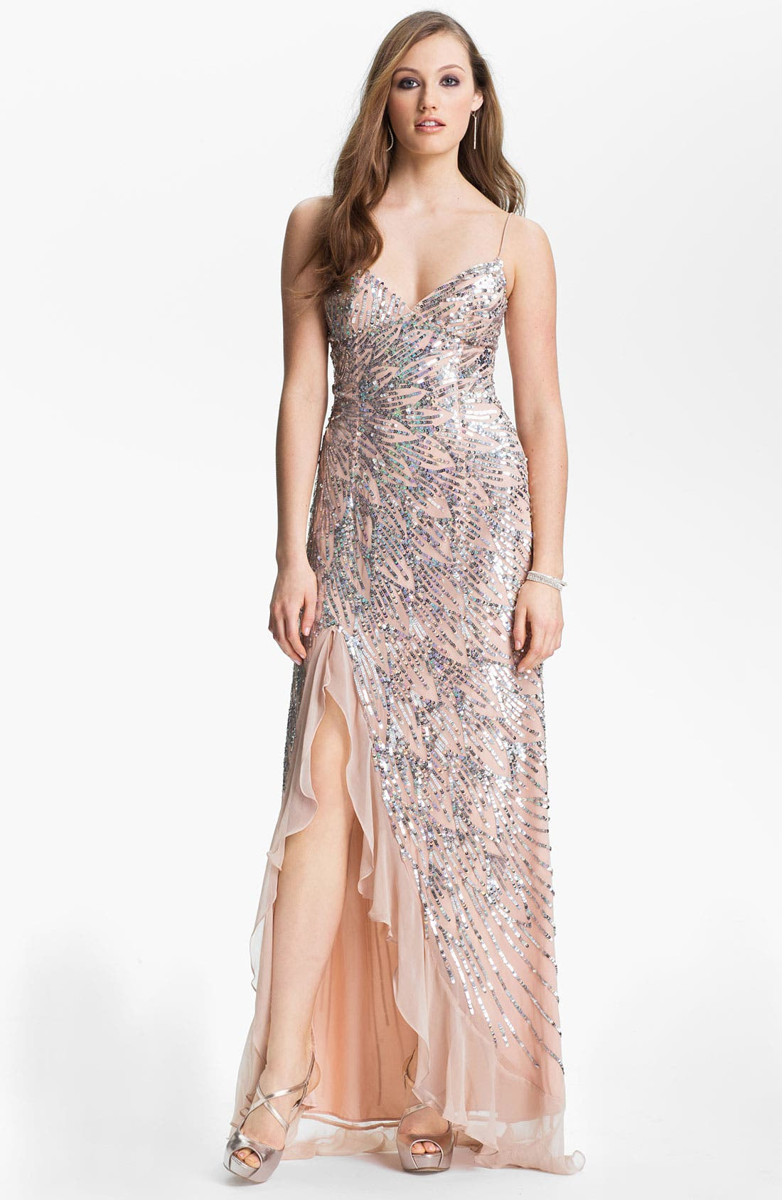 Main Image - Sean Collection Sequin Chiffon Gown (Online Exclusive)