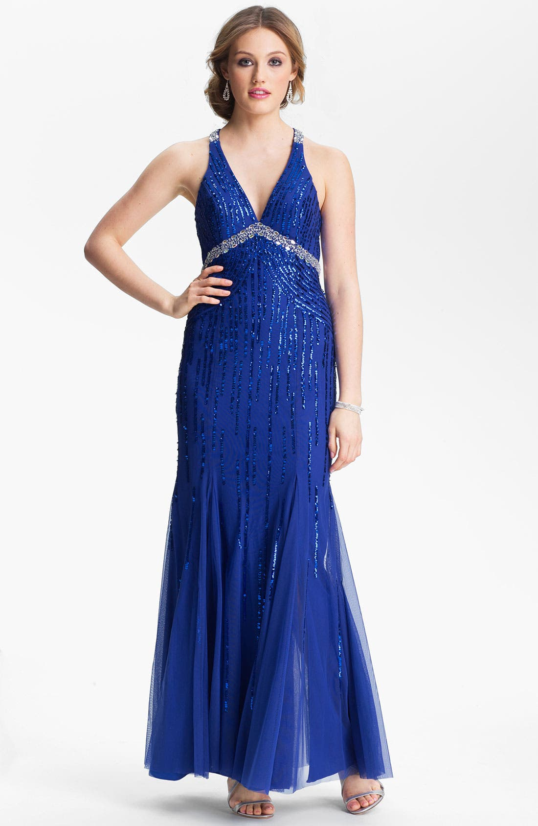 Main Image - Sean Collection Embellished Mesh Trumpet Gown