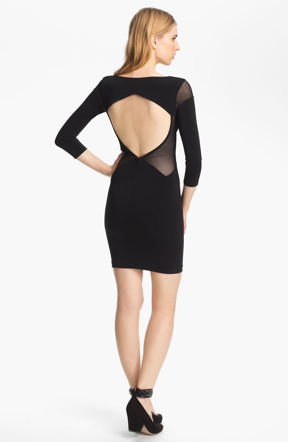 Sheer Inset Dress,                             Alternate thumbnail 2, color,                             Black