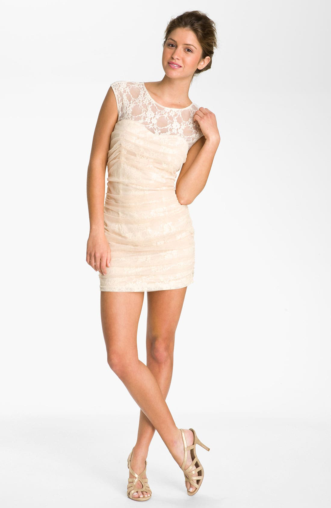 Alternate Image 1 Selected - En Crème Lace Illusion Dress (Juniors)