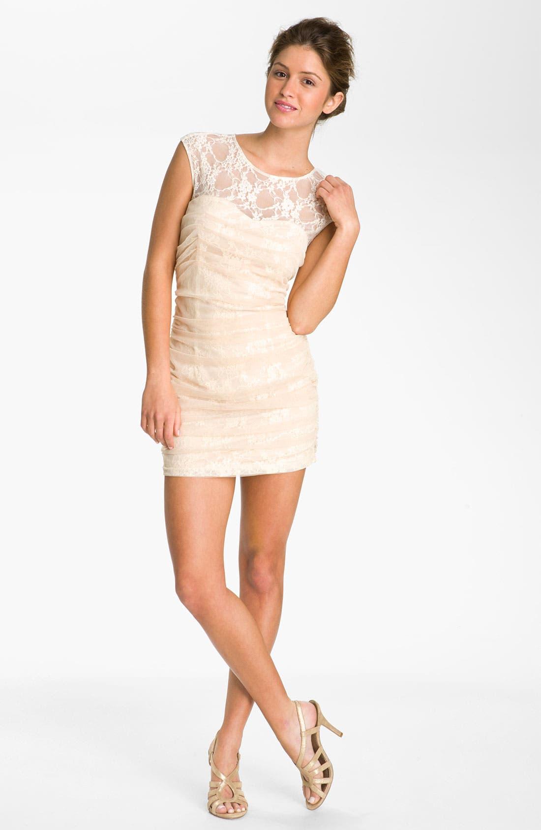 Lace Illusion Dress,                         Main,                         color, Beige