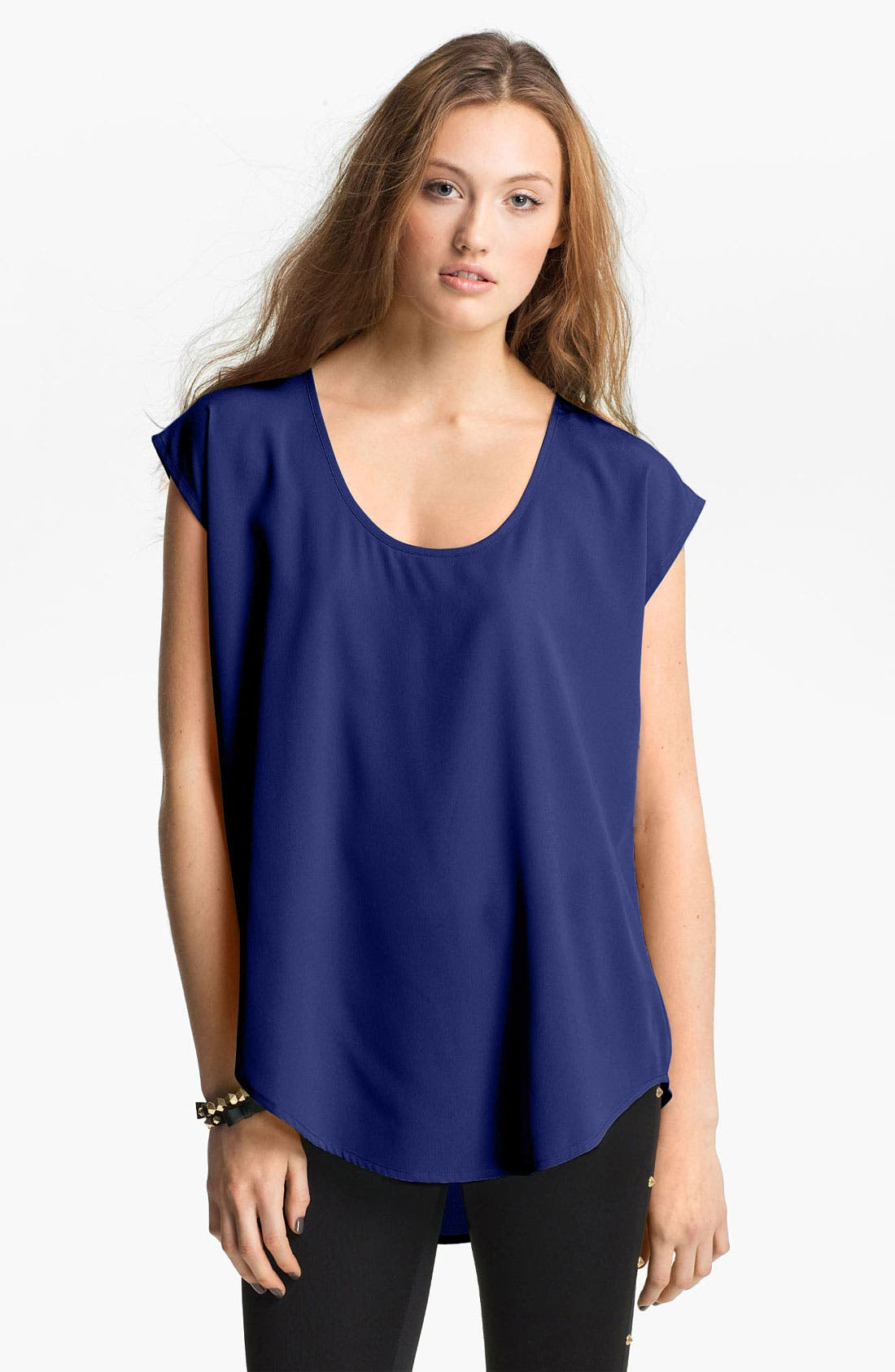 Oversize Woven Tee,                         Main,                         color, Blue- Mazarine