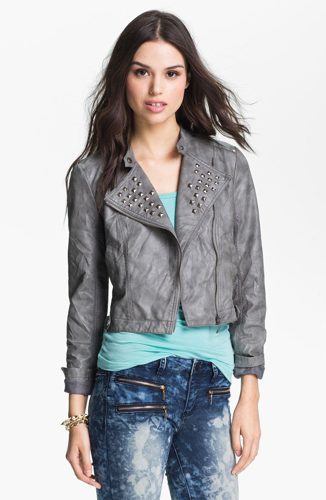 Alternate Image 1 Selected - Collection B Stud Lapel Cropped Biker Jacket (Juniors)