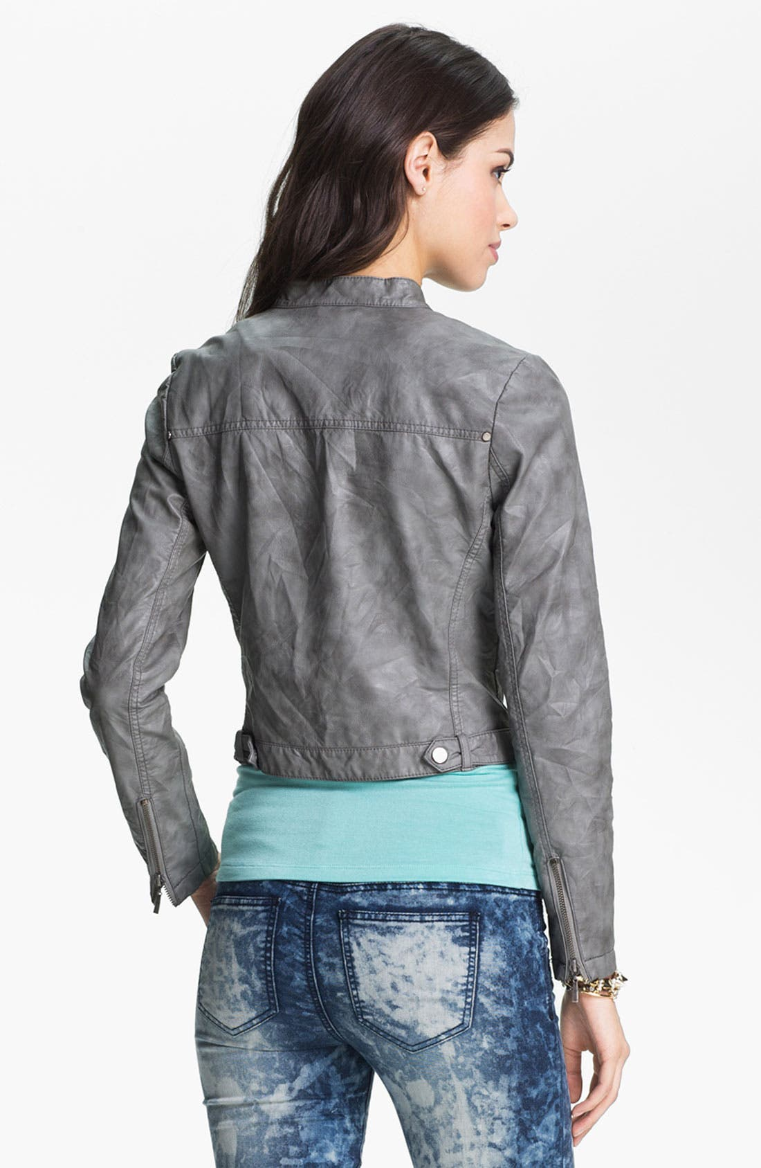 Alternate Image 3  - Collection B Stud Lapel Cropped Biker Jacket (Juniors)