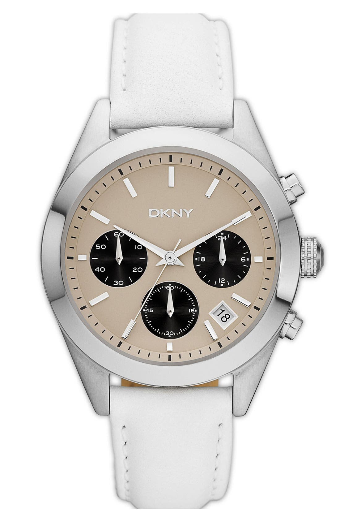 Main Image - DKNY Round Leather Strap Watch, 38mm