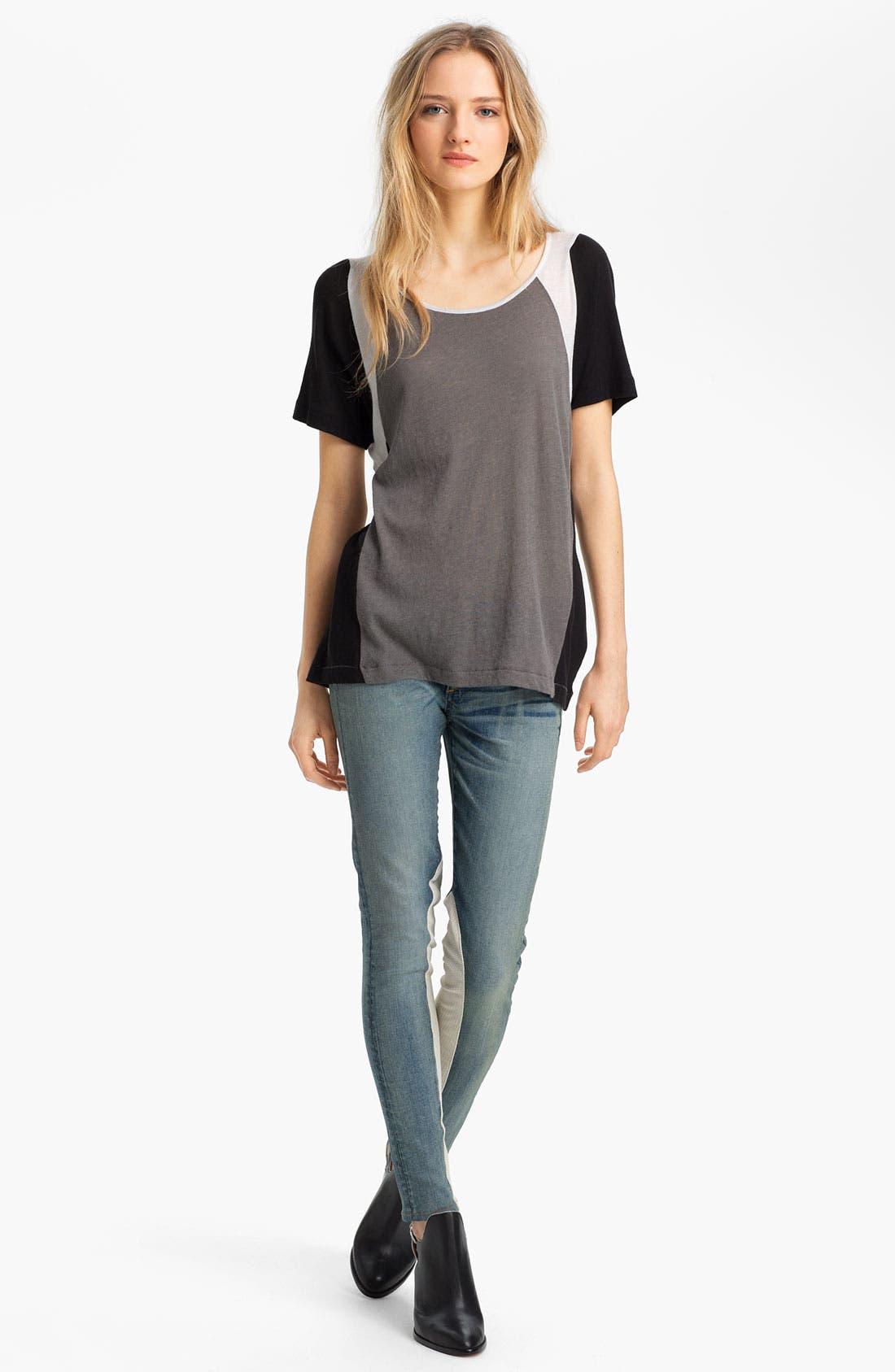 Alternate Image 6  - rag & bone/JEAN Slim Leather & Denim Jeans