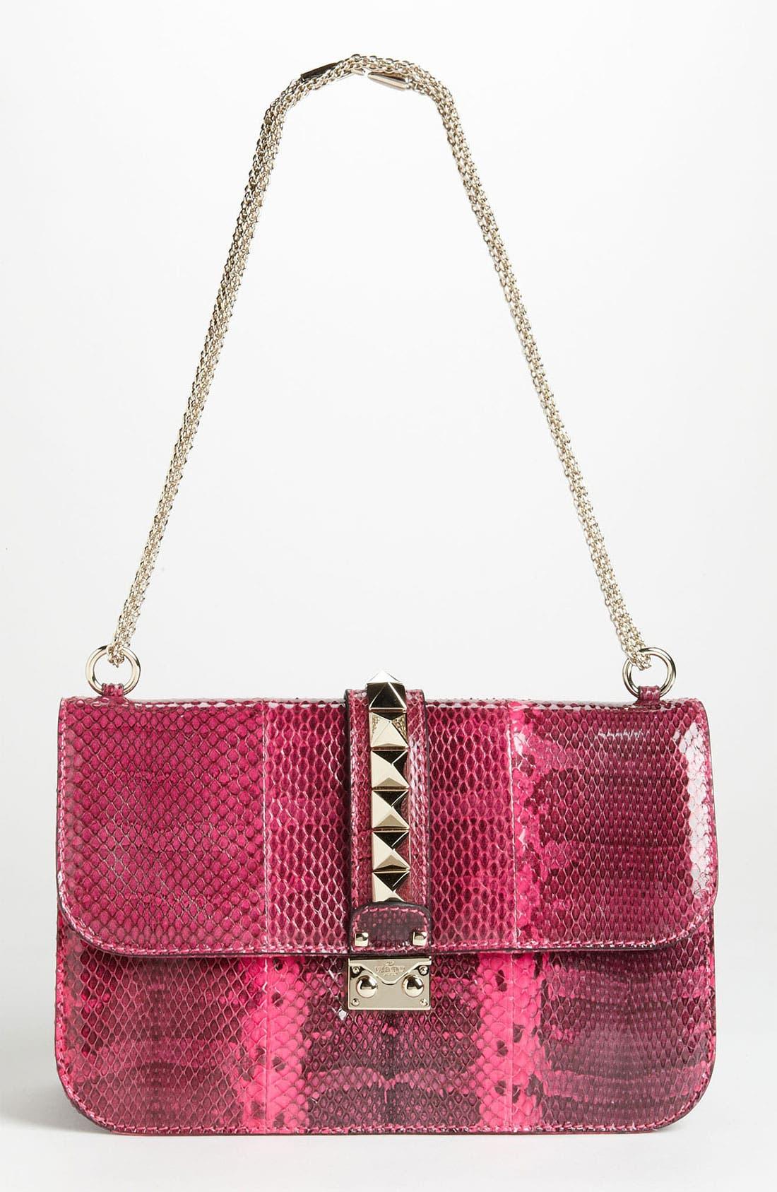Main Image - Valentino 'Lock - Medium' Genuine Snakeskin Shoulder Bag