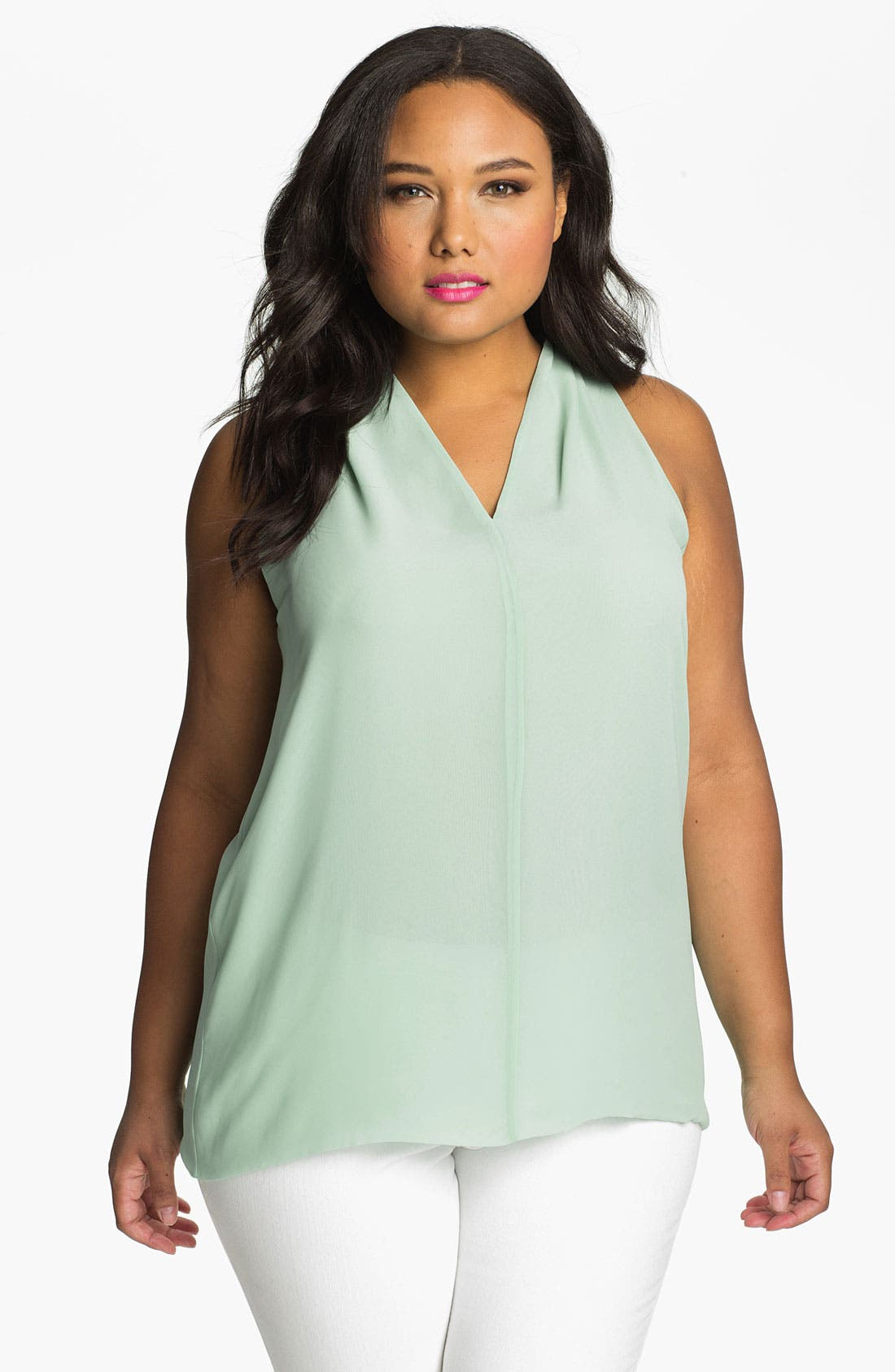 Main Image - Vince Camuto Sleeveless High/Low Blouse (Plus)