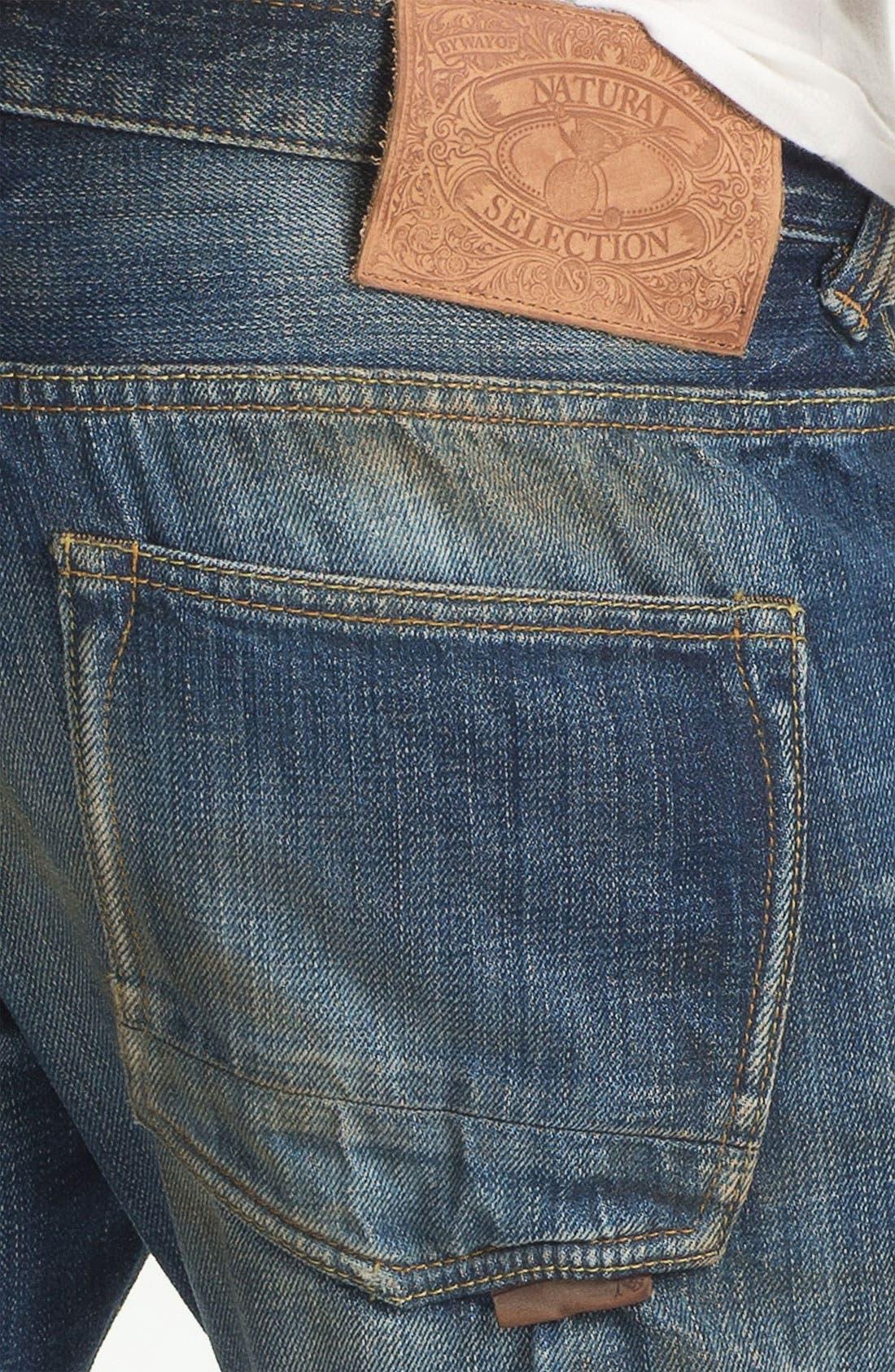 Alternate Image 4  - Natural Selection Denim 'Broken' Narrow Straight Leg Selvedge Jeans (Dune)