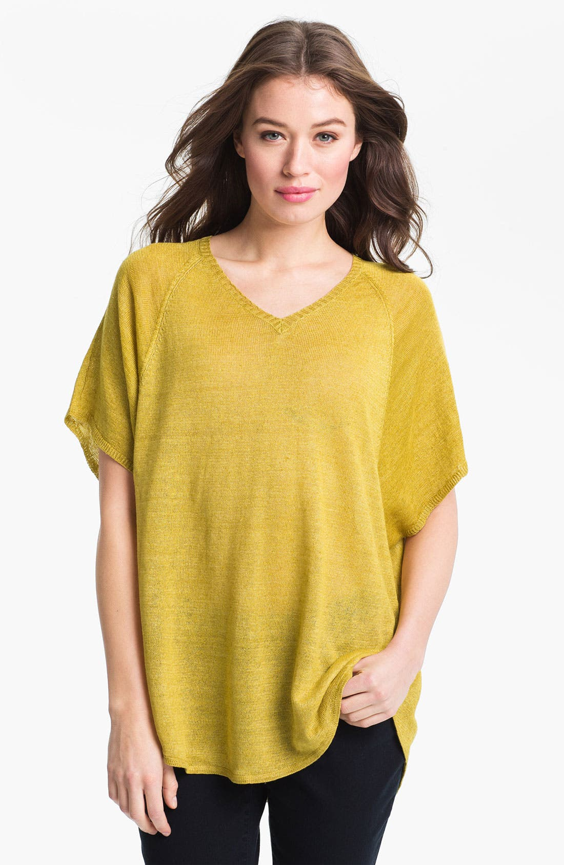 Main Image - Eileen Fisher 'Delave' Linen V-Neck Tunic (Online Only)