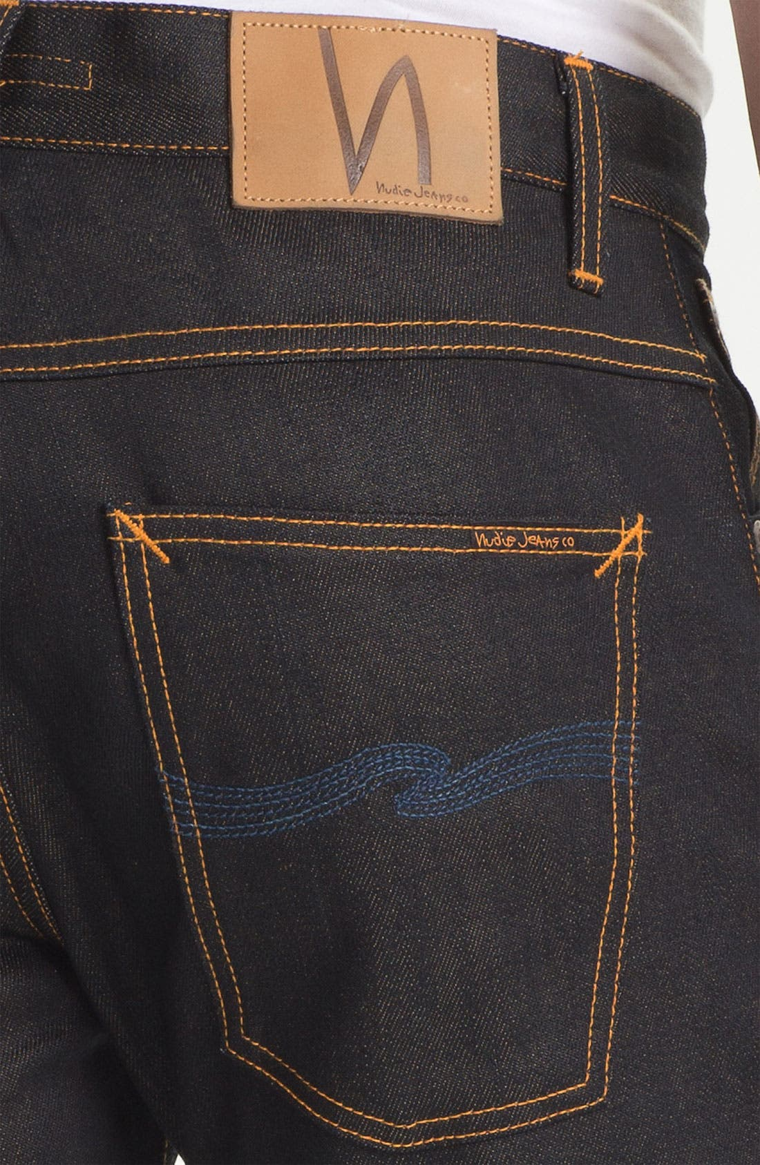 Alternate Image 4  - Nudie 'Average Joe' Straight Leg Jeans (Organic Dry Brown Selvedge)