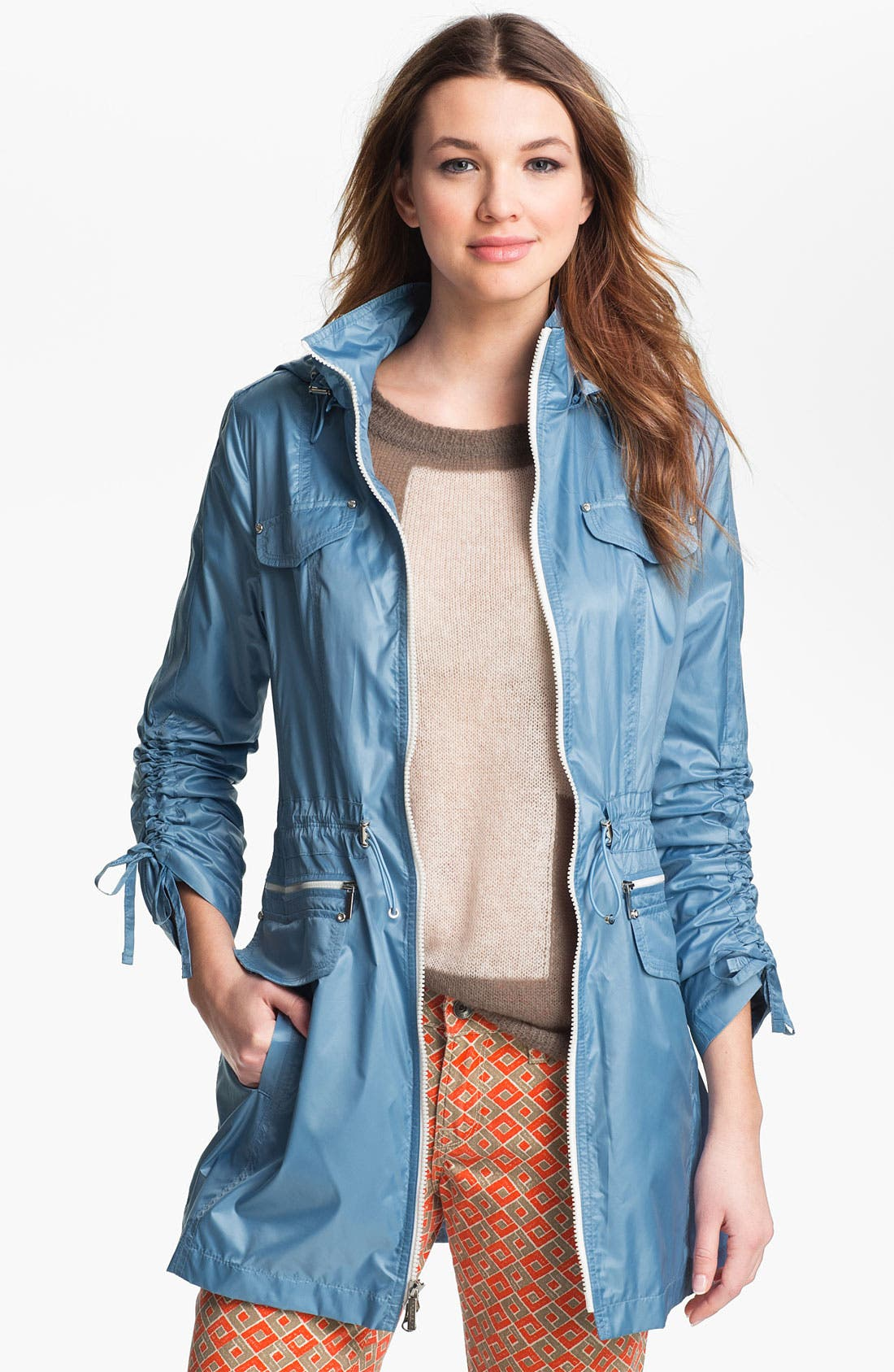 Alternate Image 2  - Laundry by Shelli Segal Drawstring Sleeve Packable Anorak