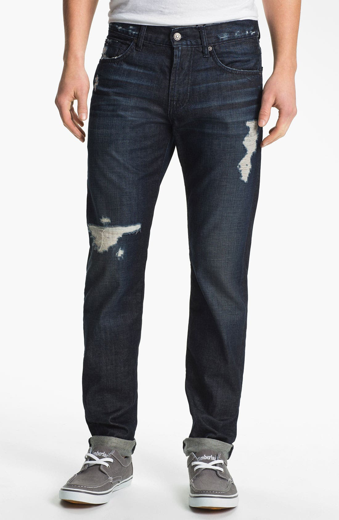 Alternate Image 1 Selected - 7 For All Mankind® Straight Leg Selvedge Jeans (Dark Destroyed)