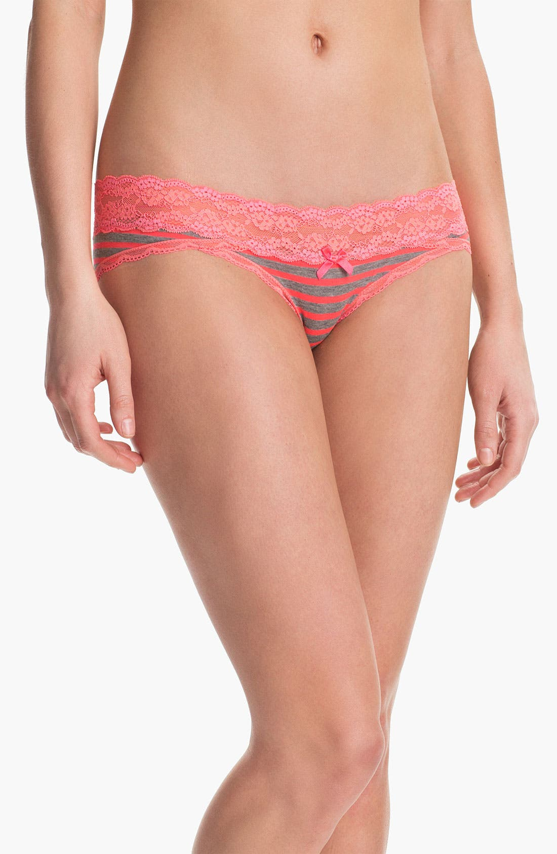 Alternate Image 1 Selected - Honeydew Intimates 'Zenith' Lace & Stripe Hipster Briefs (3 for $30)