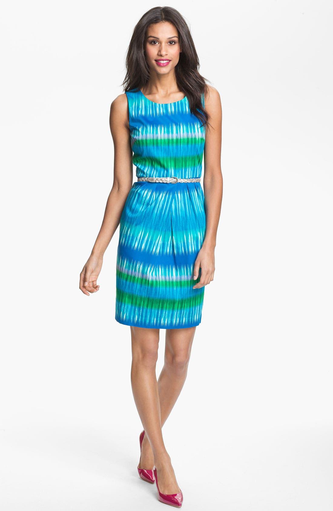 Alternate Image 1 Selected - Calvin Klein Ikat Print Sheath Dress