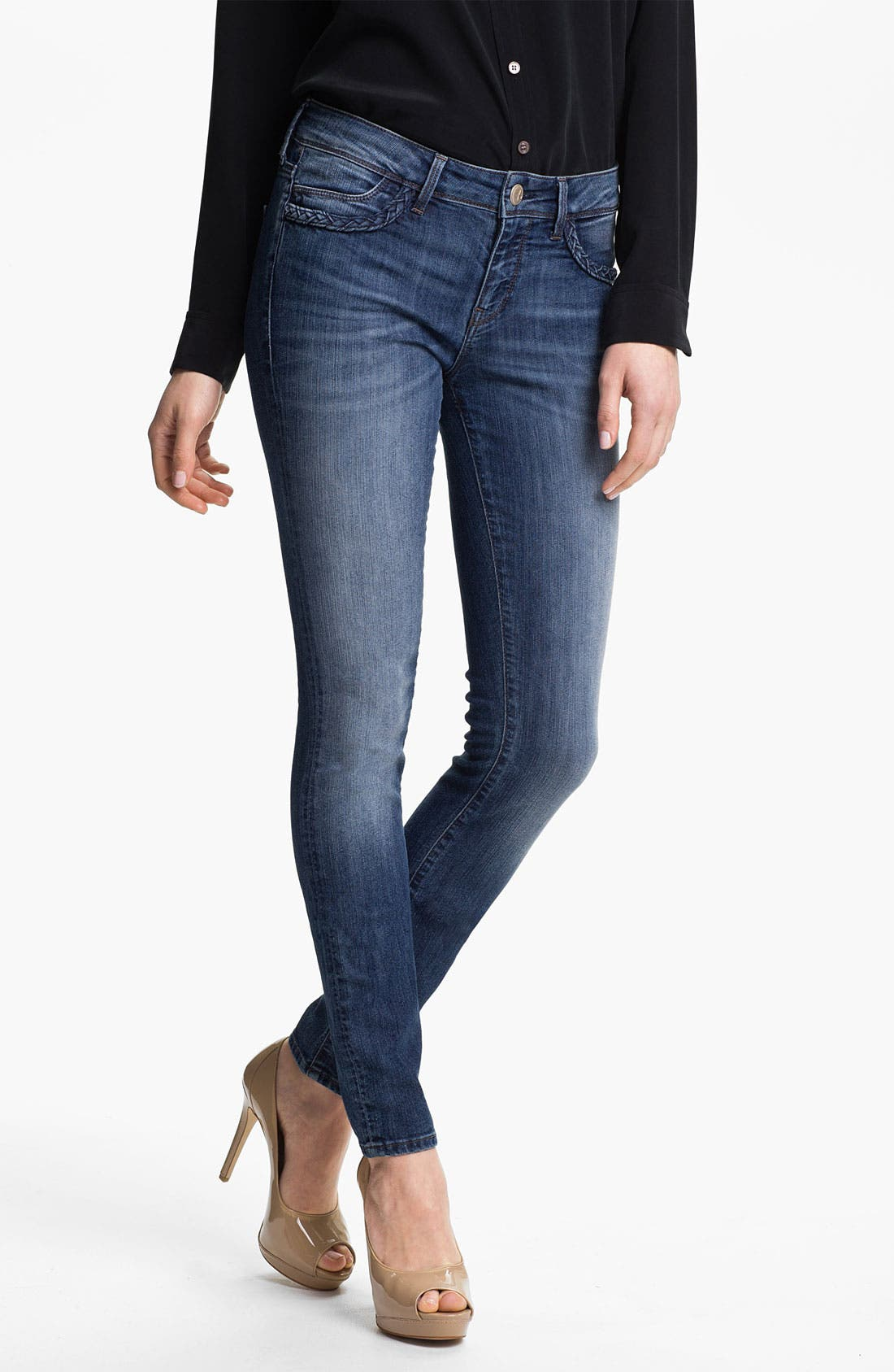 Alternate Image 1 Selected - Mavi Jeans 'Alexa' Braid Trim Jeans (Dark)