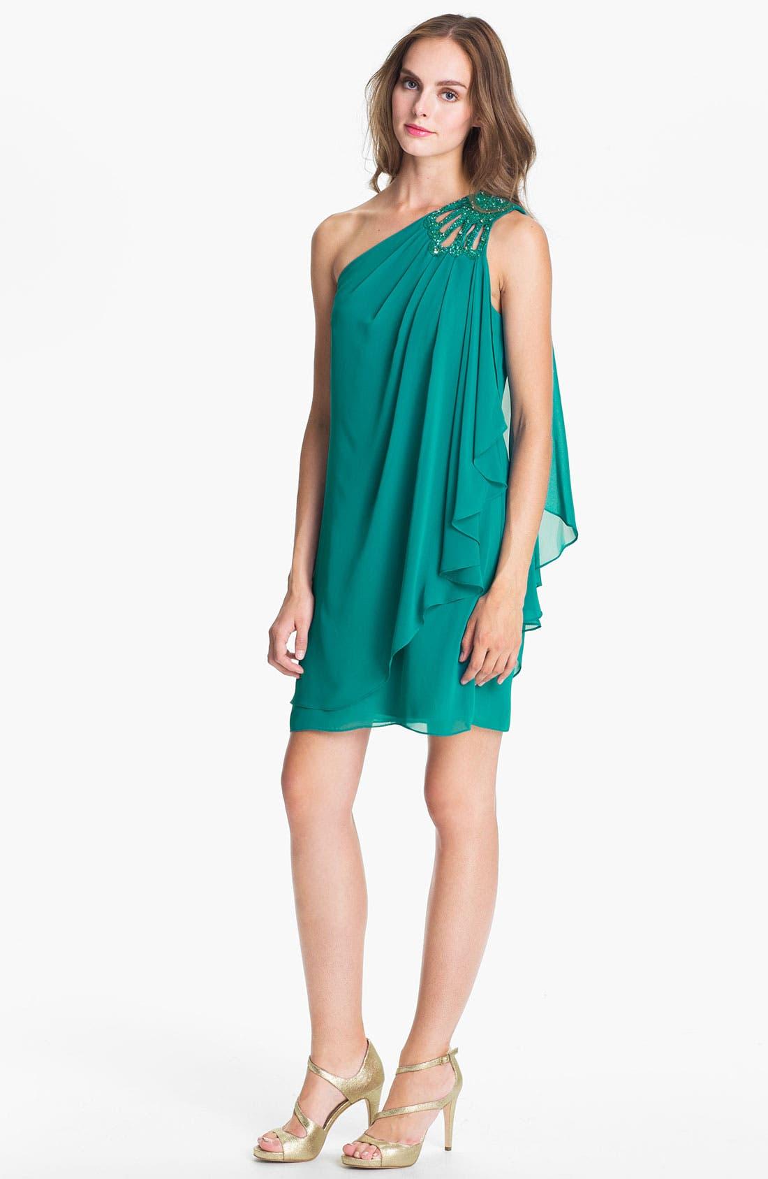 Alternate Image 1 Selected - JS Boutique Embellished One Shoulder Chiffon Dress