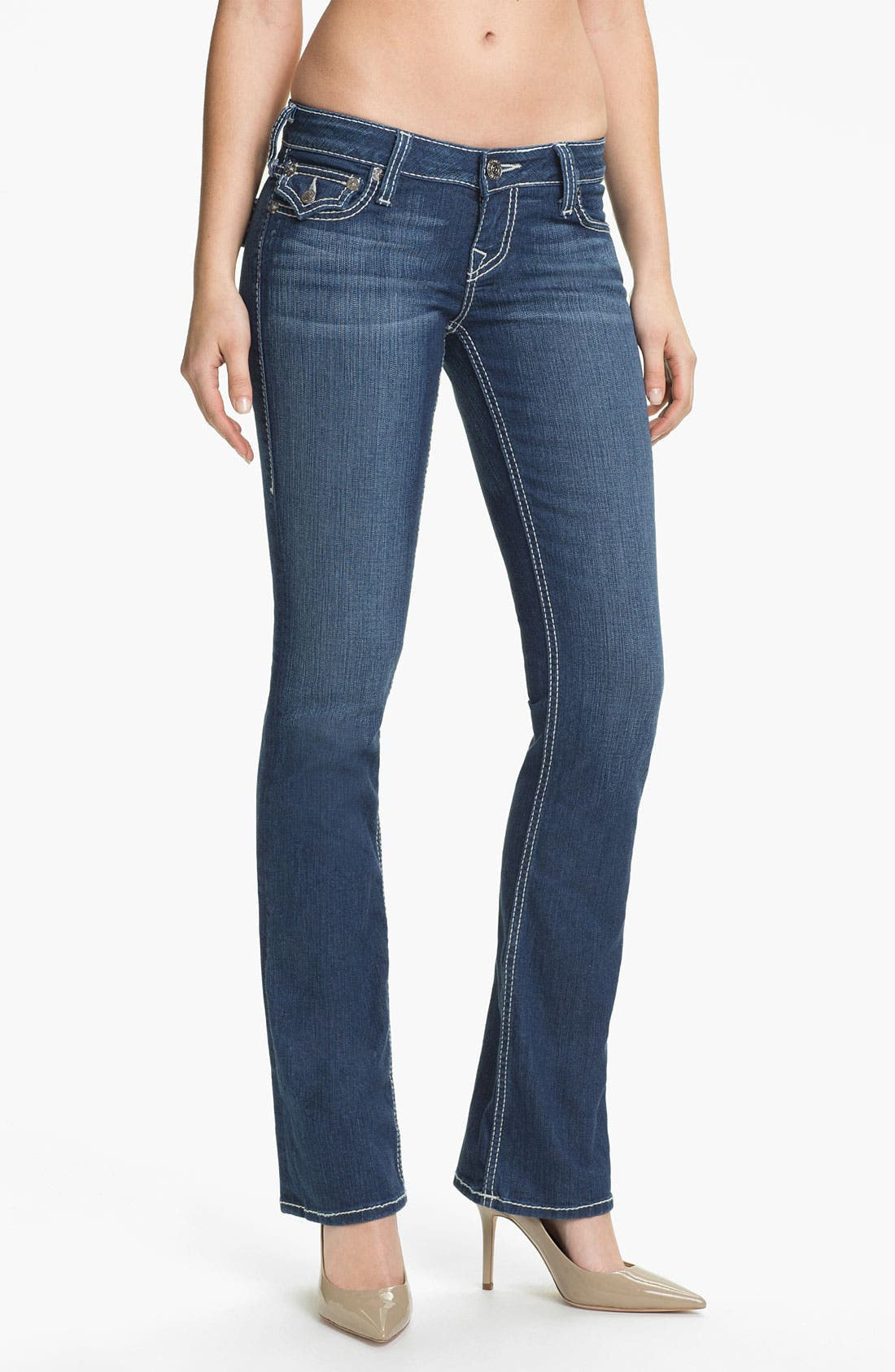 Main Image - True Religion Brand Jeans 'Becky' Bootcut Jeans (Rosewood)