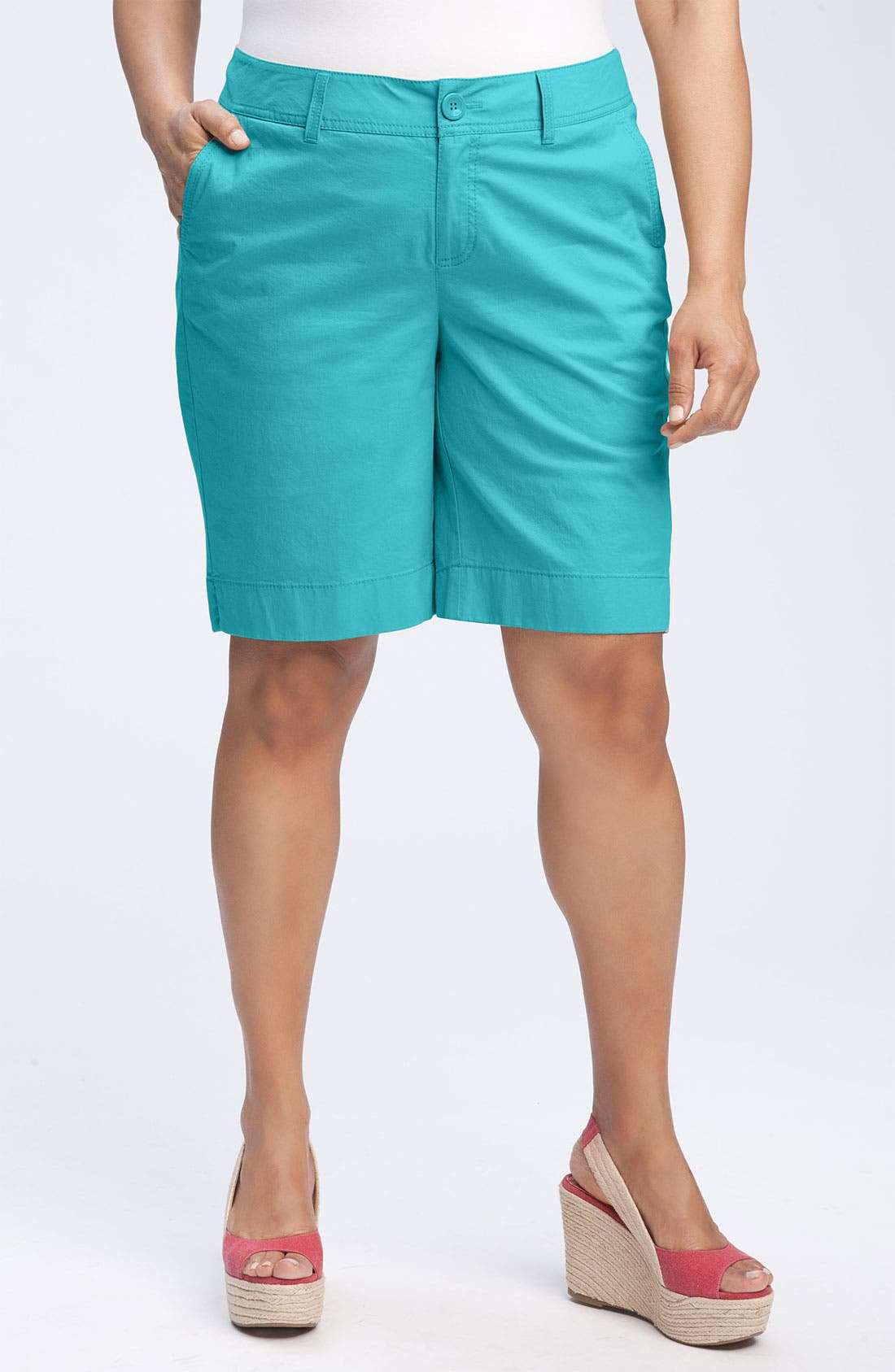 Alternate Image 1 Selected - Sejour Stretch Twill Bermuda Shorts (Plus Size)