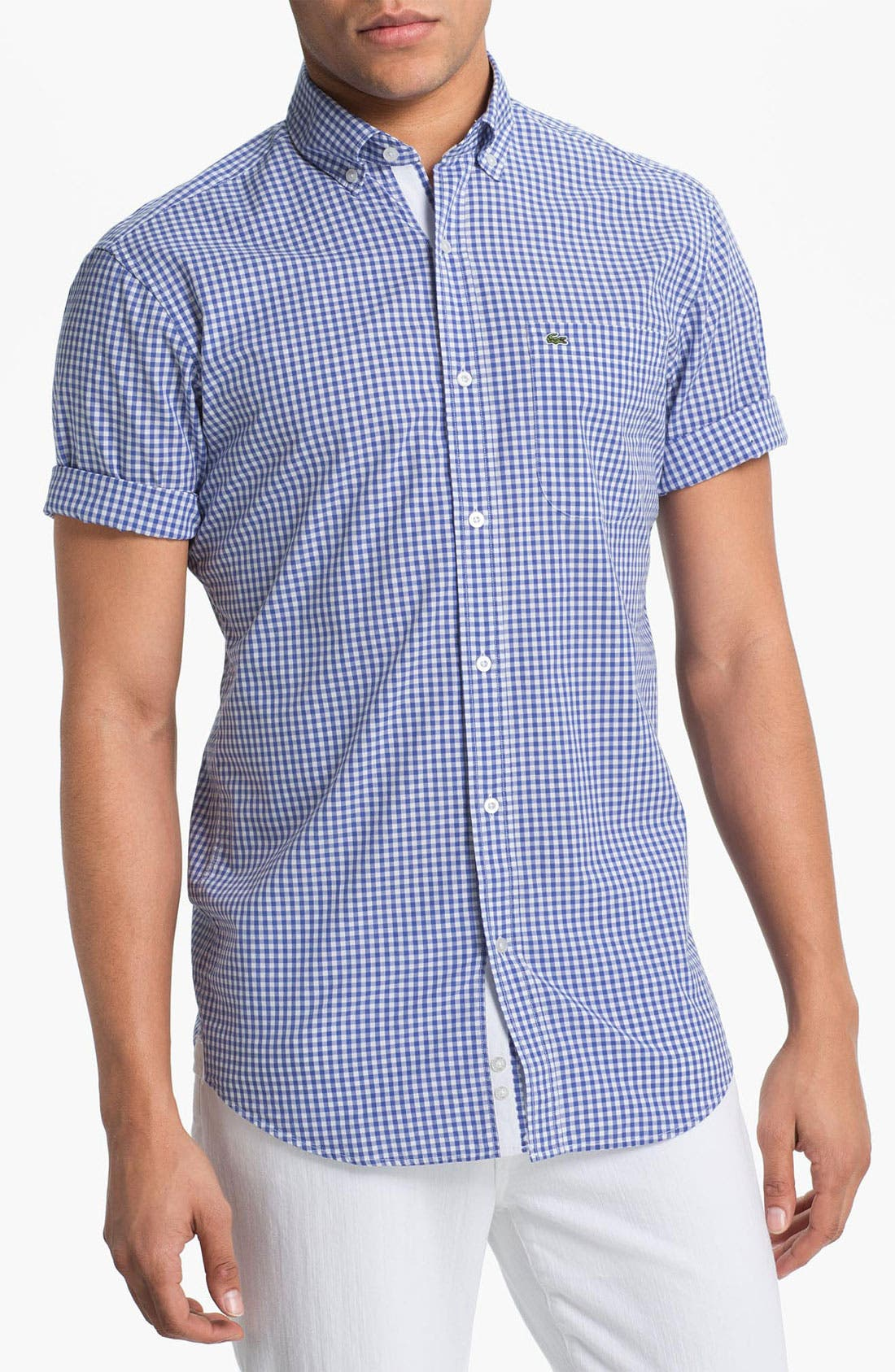 Main Image - Lacoste Short Sleeve Button Down Shirt (Tall)