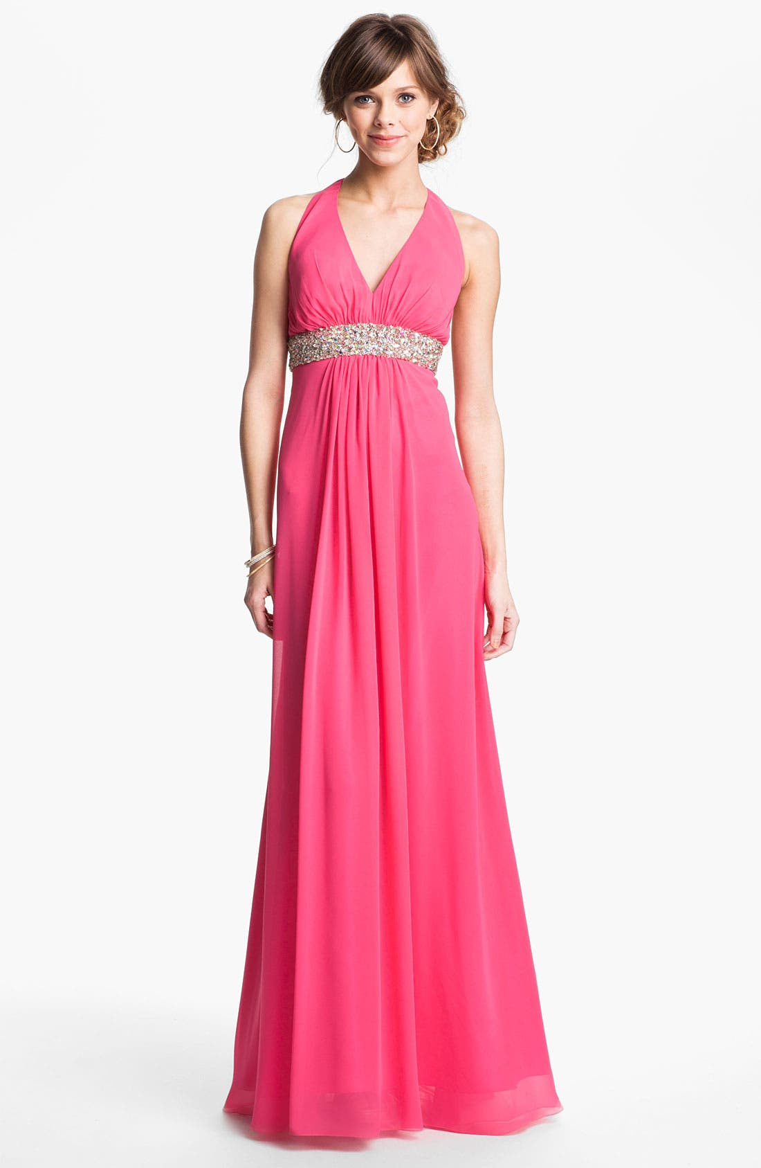 Alternate Image 1 Selected - Faviana Embellished Chiffon Halter Gown (Online Exclusive)