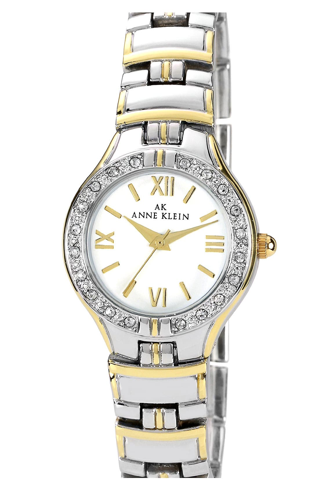 Main Image - Anne Klein Crystal Bezel Two Tone Bracelet Watch