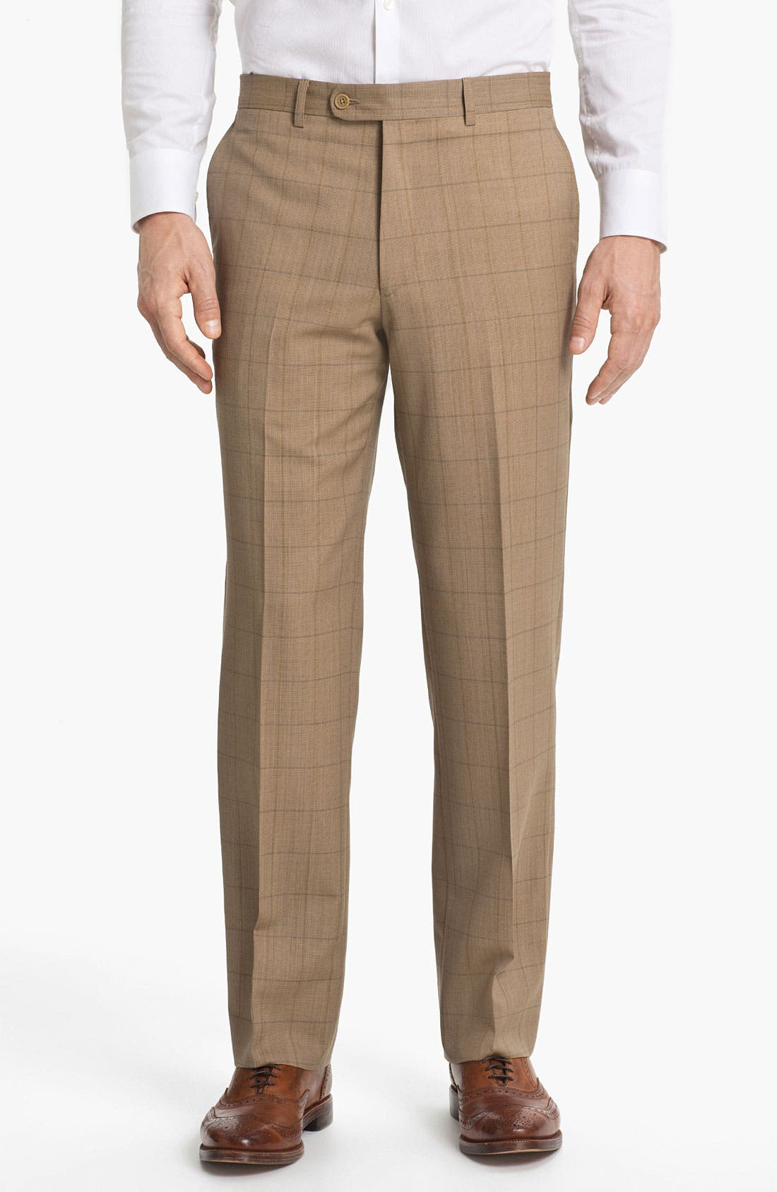 Alternate Image 1 Selected - Linea Naturale 'Sandbox Plaid' Flat Front Wool Trousers