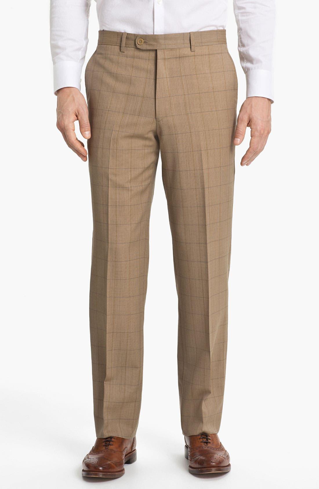 Main Image - Linea Naturale 'Sandbox Plaid' Flat Front Wool Trousers