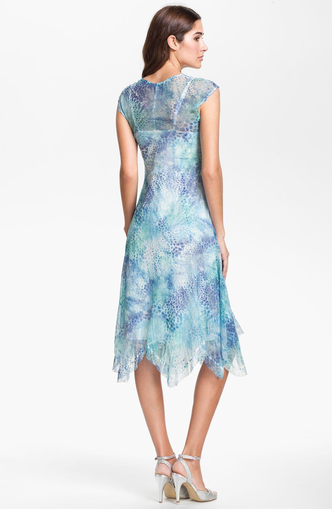 Alternate Image 2  - Komarov Cap Sleeve Handkerchief Hem Chiffon Dress (Regular & Petite)