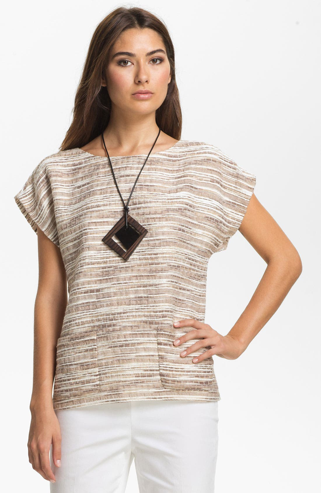 Main Image - Lafayette 148 New York 'Eartha - Cordial Reed Cloth' Top