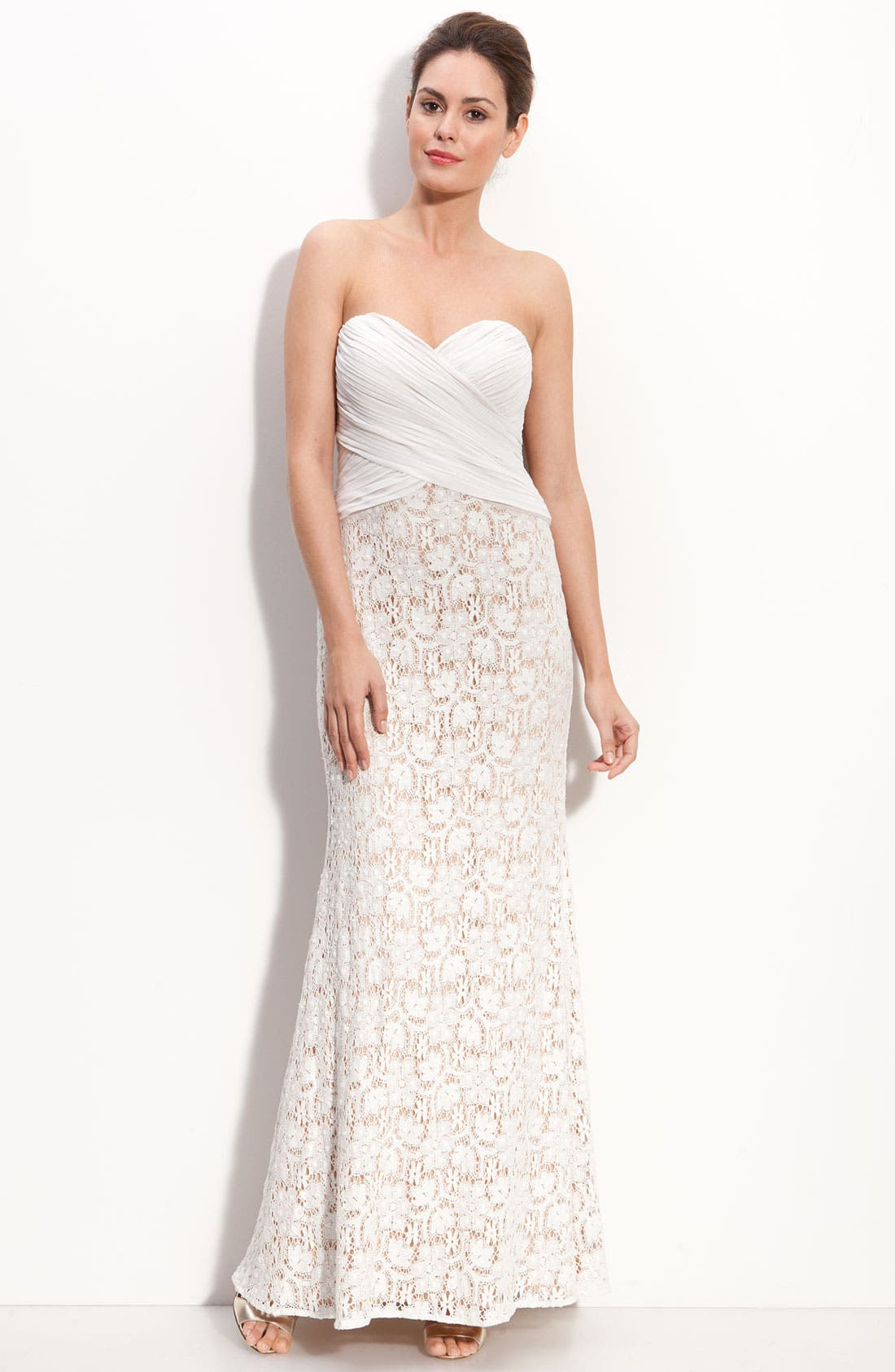 Main Image - JS Collections Chiffon & Lace Strapless Gown (Petite)