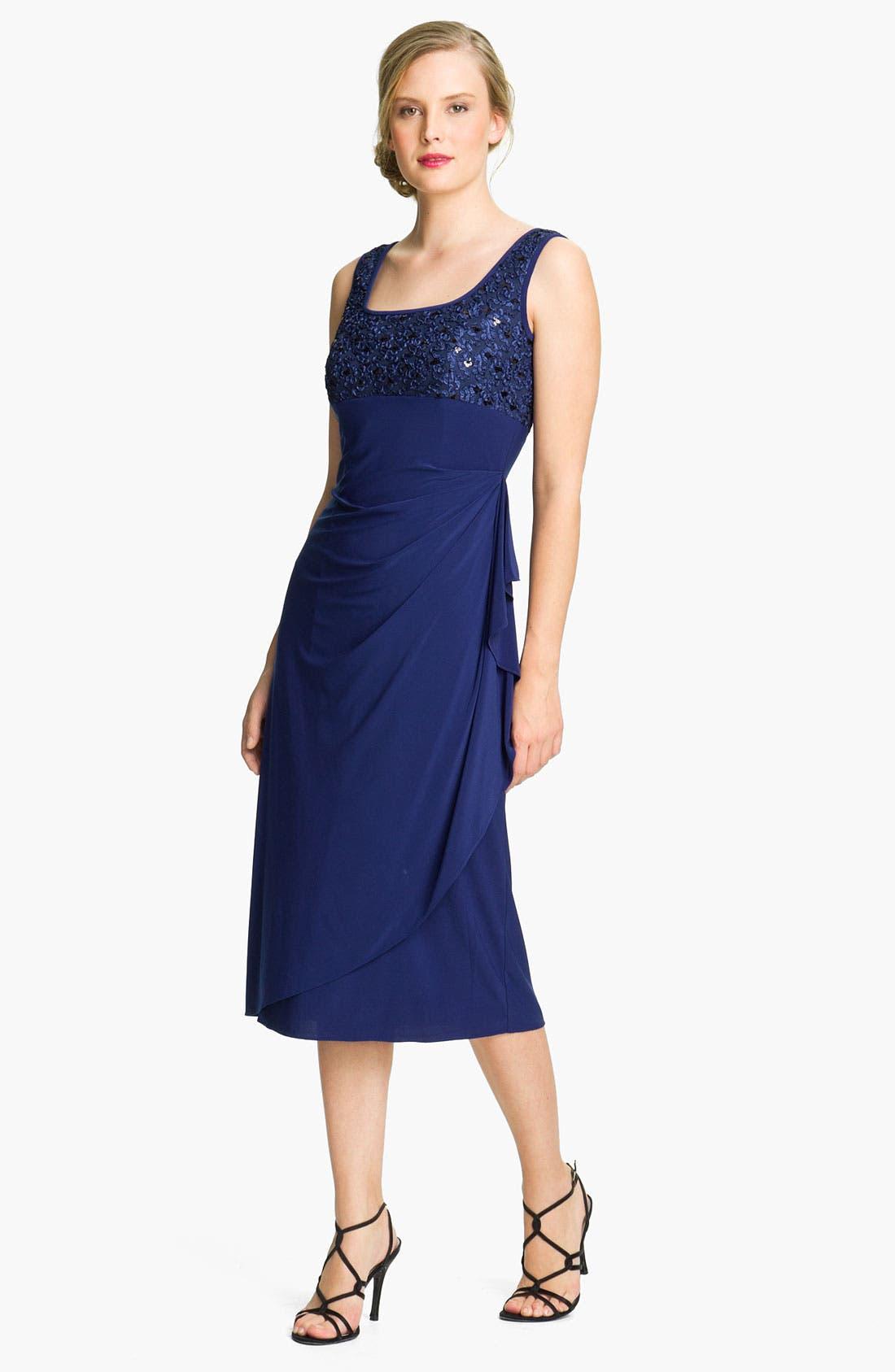 Alternate Image 3  - Alex Evenings Jersey Dress & Embroidered Jacket (Petite)