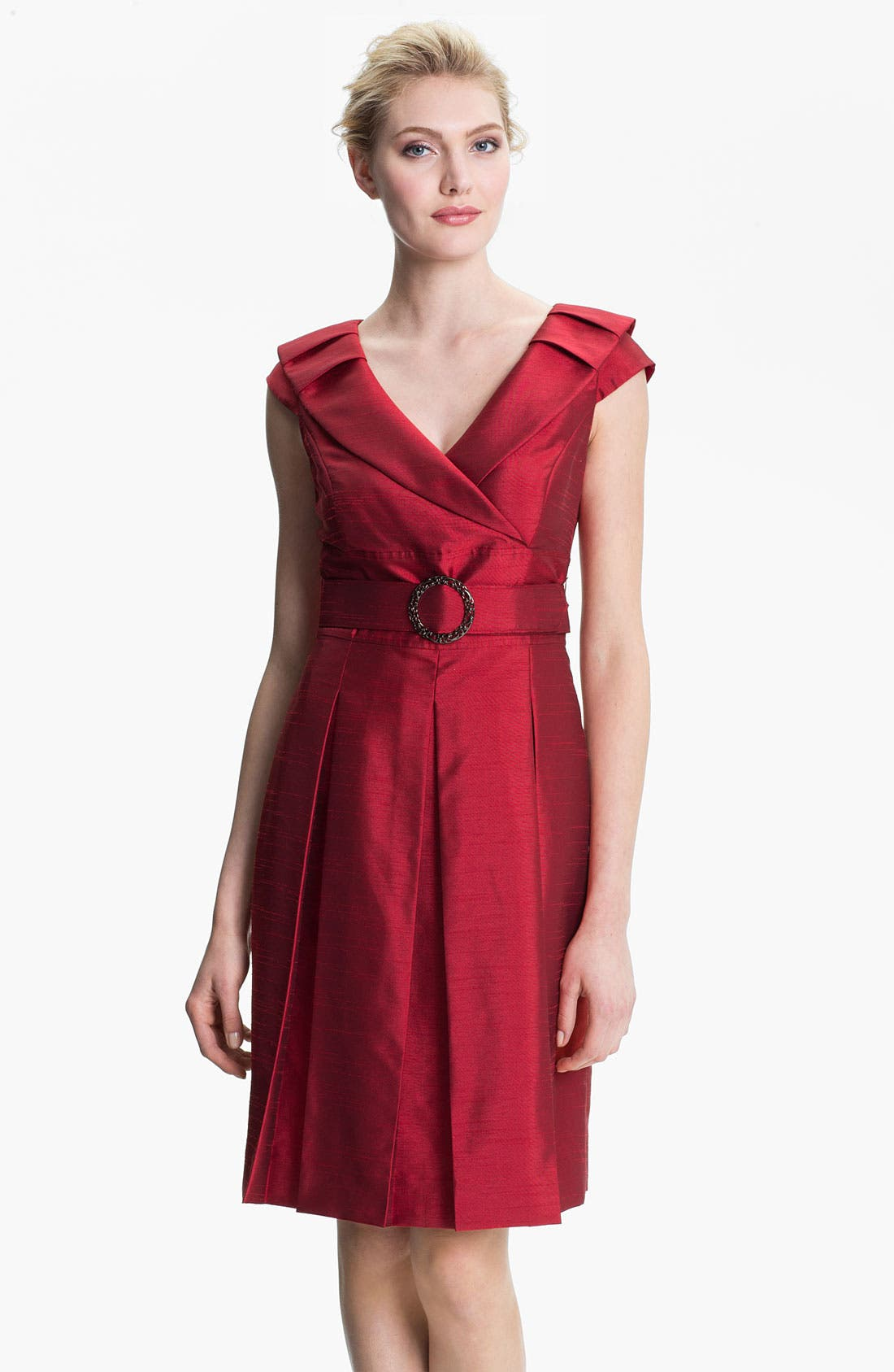 Main Image - Tahari Belted Portrait Collar Fit & Flare Dress (Petite)
