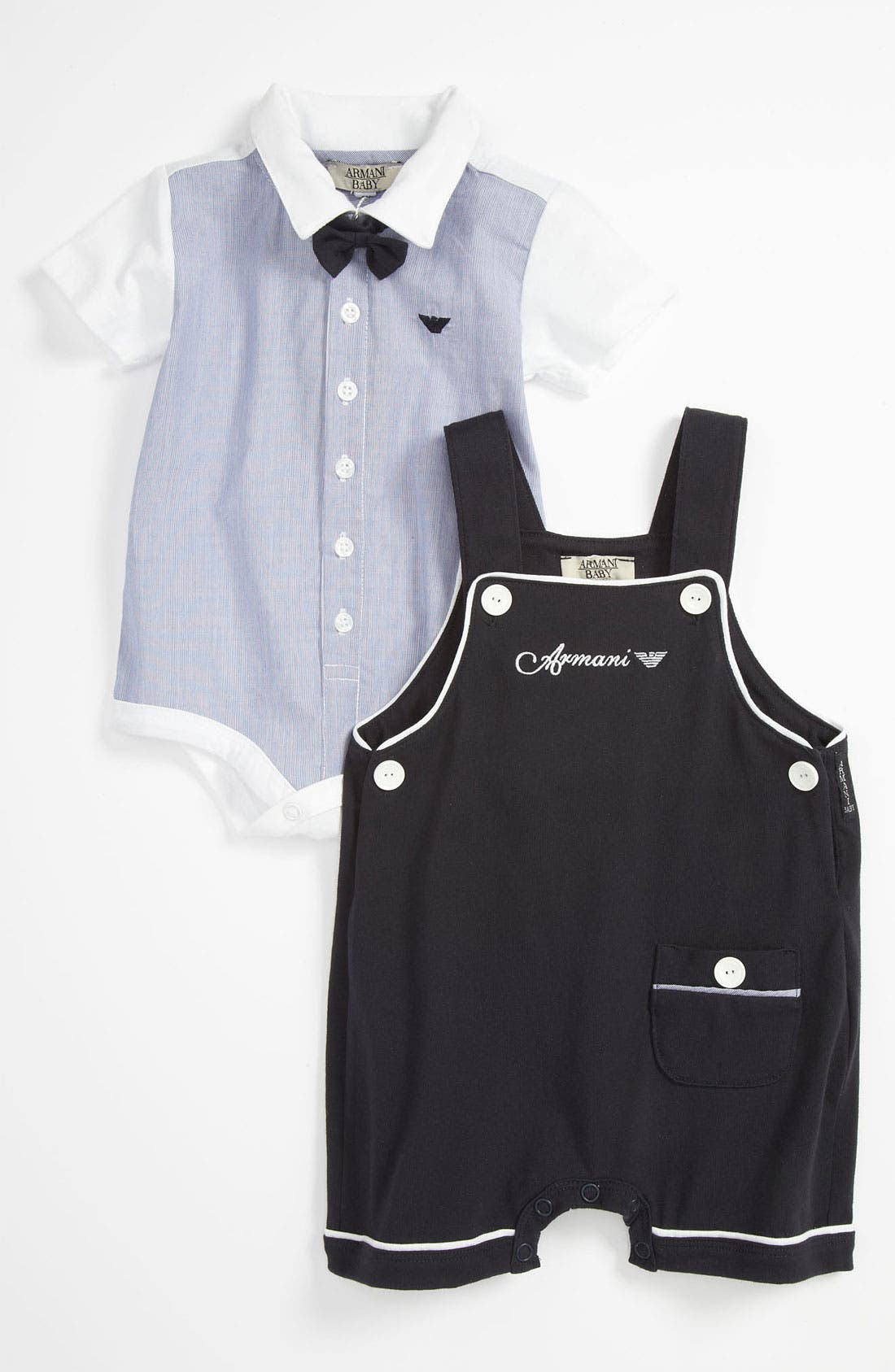 Main Image - Armani Junior Bodysuit, Overalls & Bow Tie (Infant)