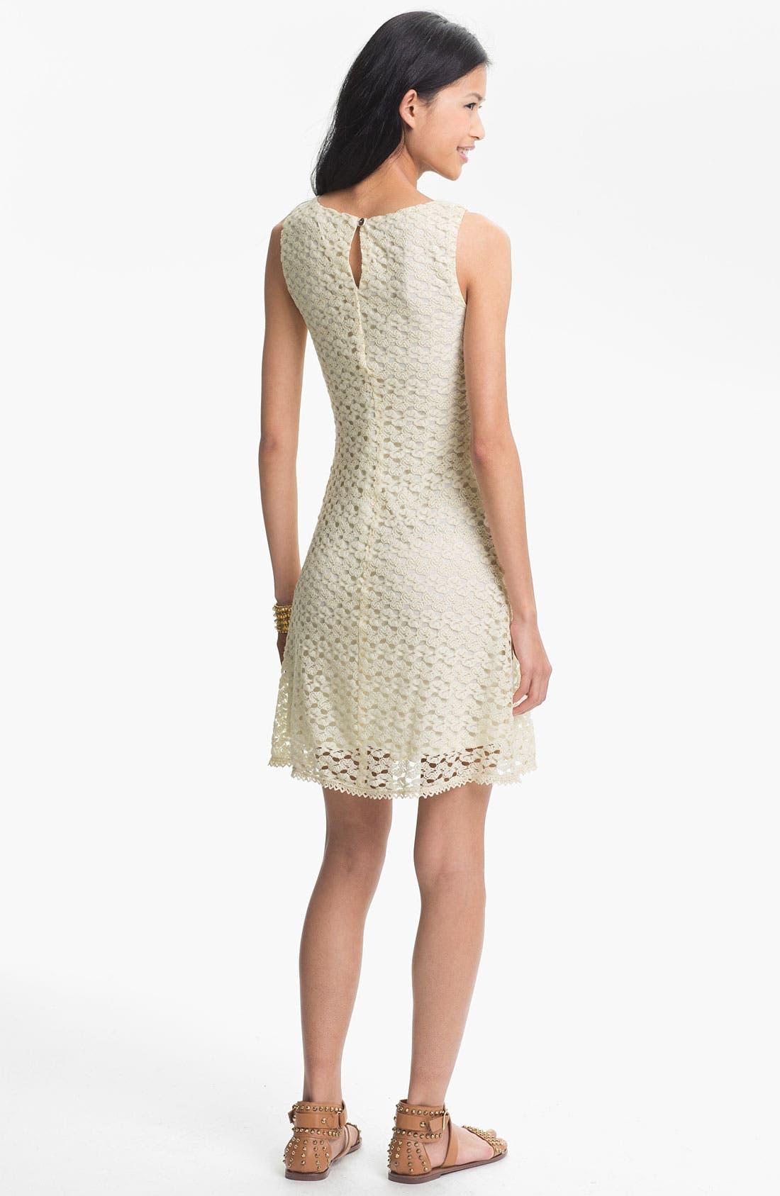 Alternate Image 2  - As U Wish Sleeveless Crochet Dress (Juniors) (Online Only)