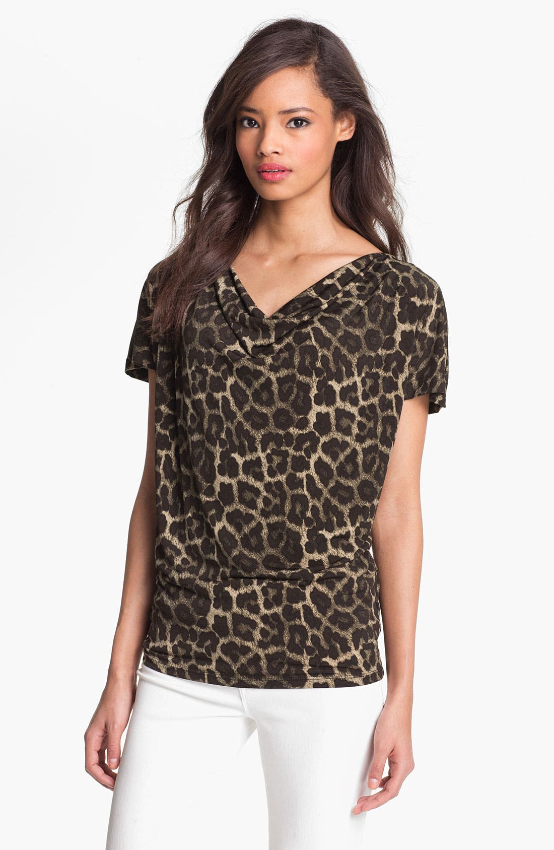 Alternate Image 1 Selected - MICHAEL Michael Kors 'Savannah' Leopard Print Top (Petite)
