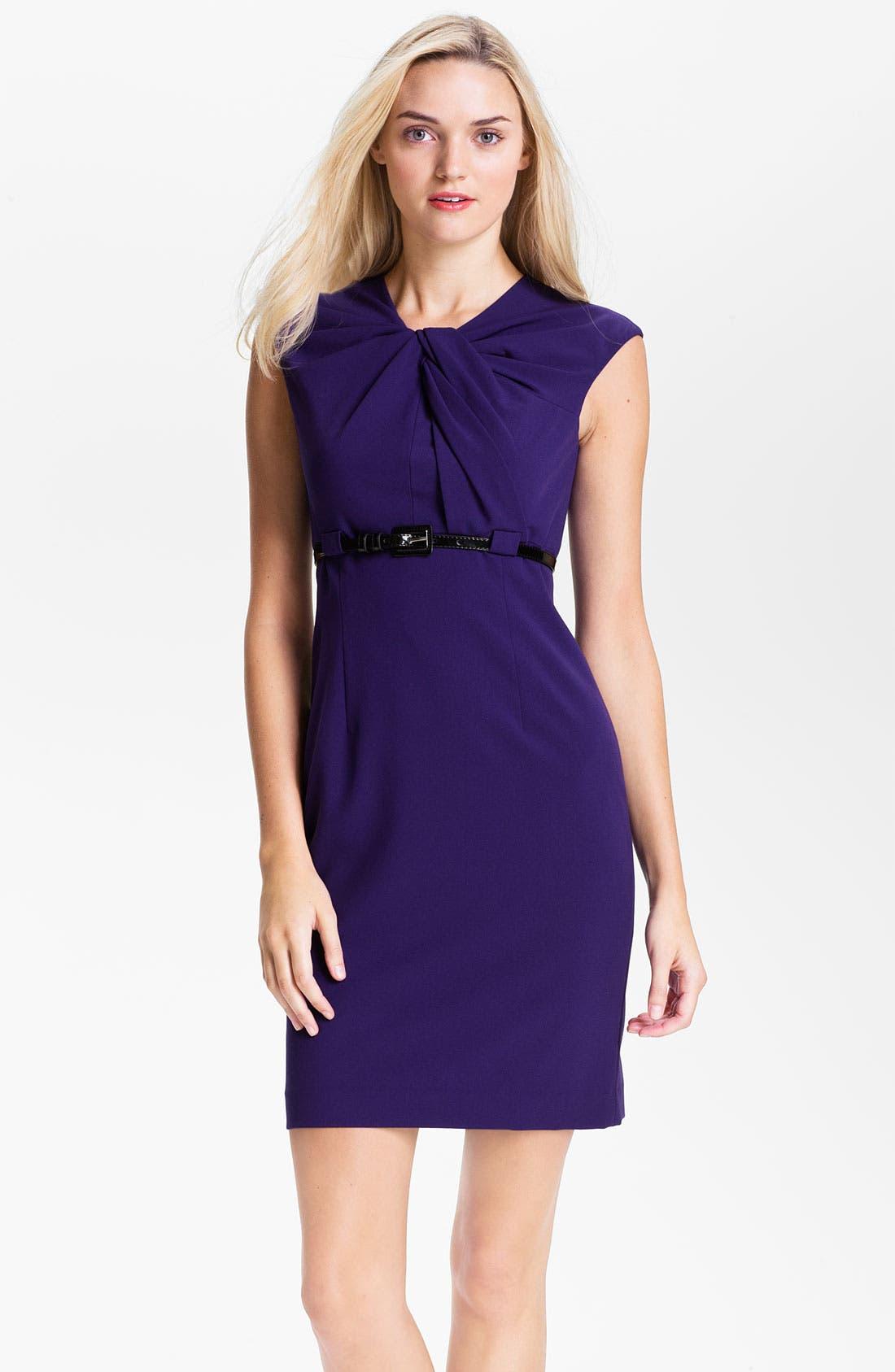 Alternate Image 1 Selected - Calvin Klein Twist Neck Belted Sheath Dress (Petite)