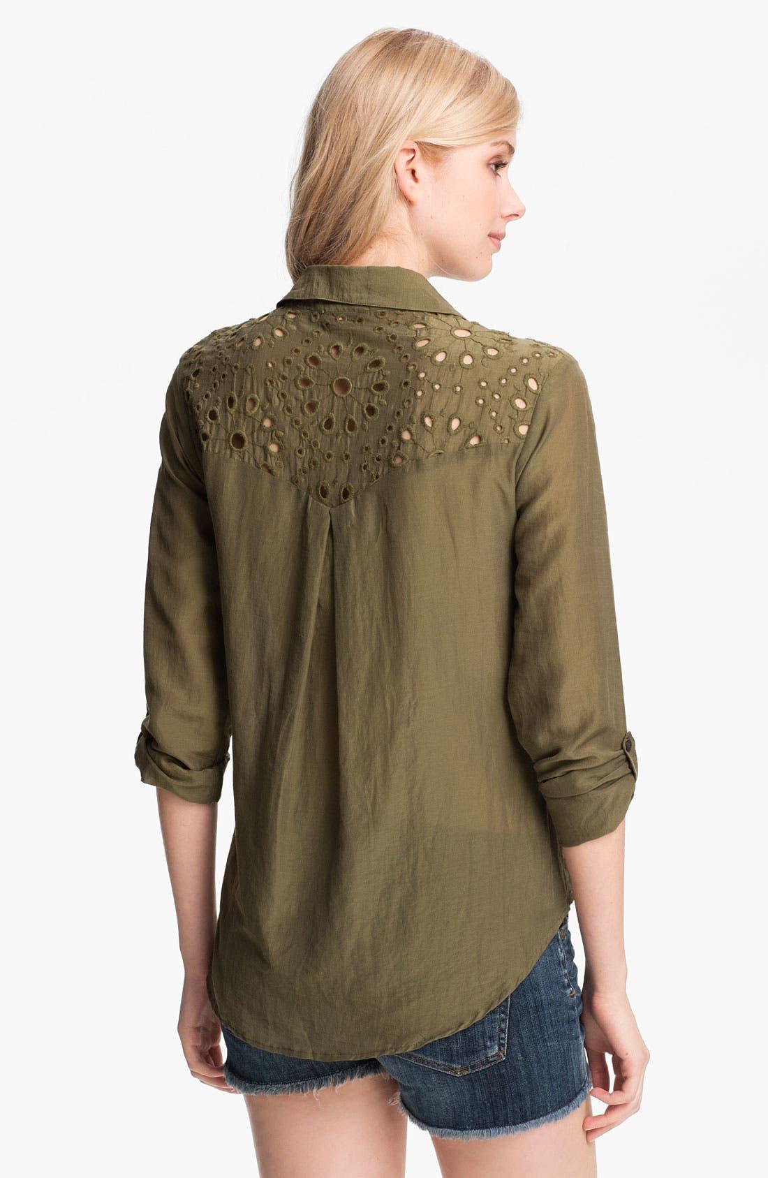 Alternate Image 2  - Ella Moss 'Heidi' Eyelet Lace Trim Shirt