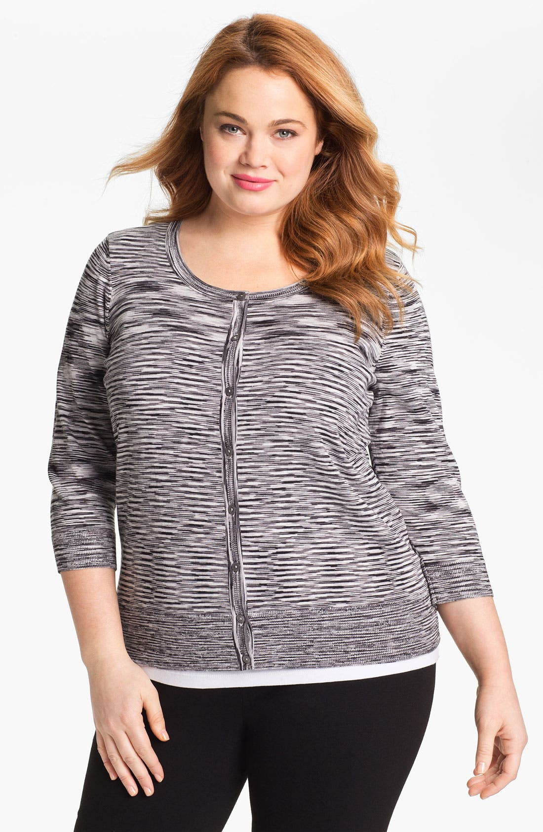 Alternate Image 1 Selected - Sejour Space Dye Cardigan (Plus Size)