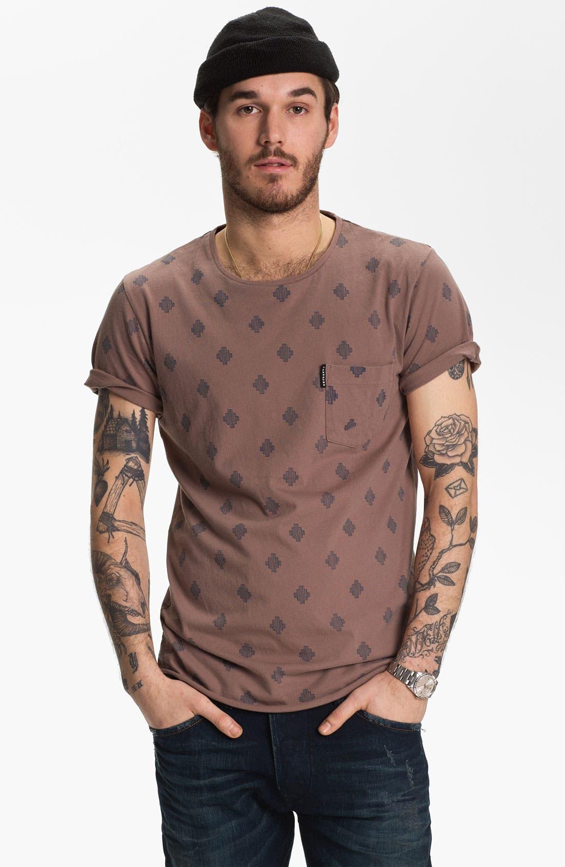 'Saris' Print Pocket T-Shirt,                         Main,                         color, Rose