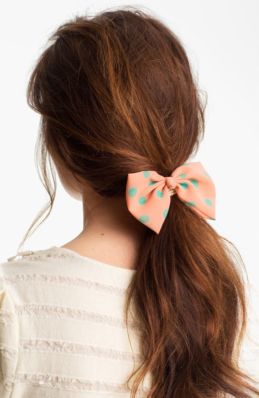 Main Image - Cara 'Pearly Polka Dot Bow' Ponytail Holder
