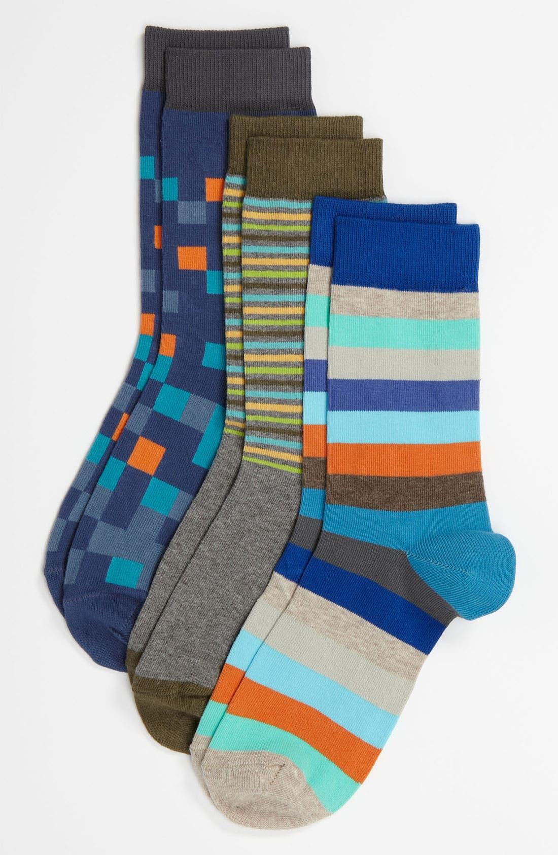 Alternate Image 1 Selected - Nordstrom 'Pixel Mix' Crew Socks (3-Pack) (Kids)