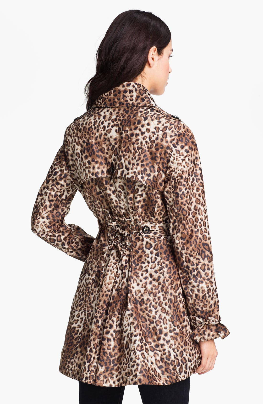 Alternate Image 2  - Betsey Johnson Lace-Up Back Print Trench Coat