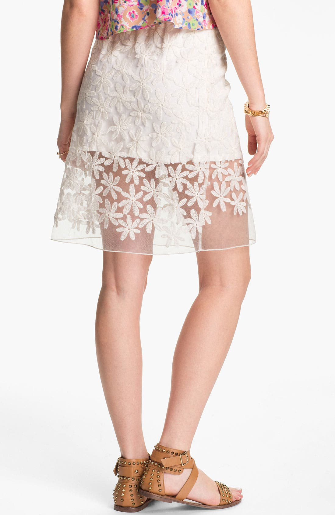 Alternate Image 2  - Lily White Embroidered Half-Sheer Skirt (Juniors)