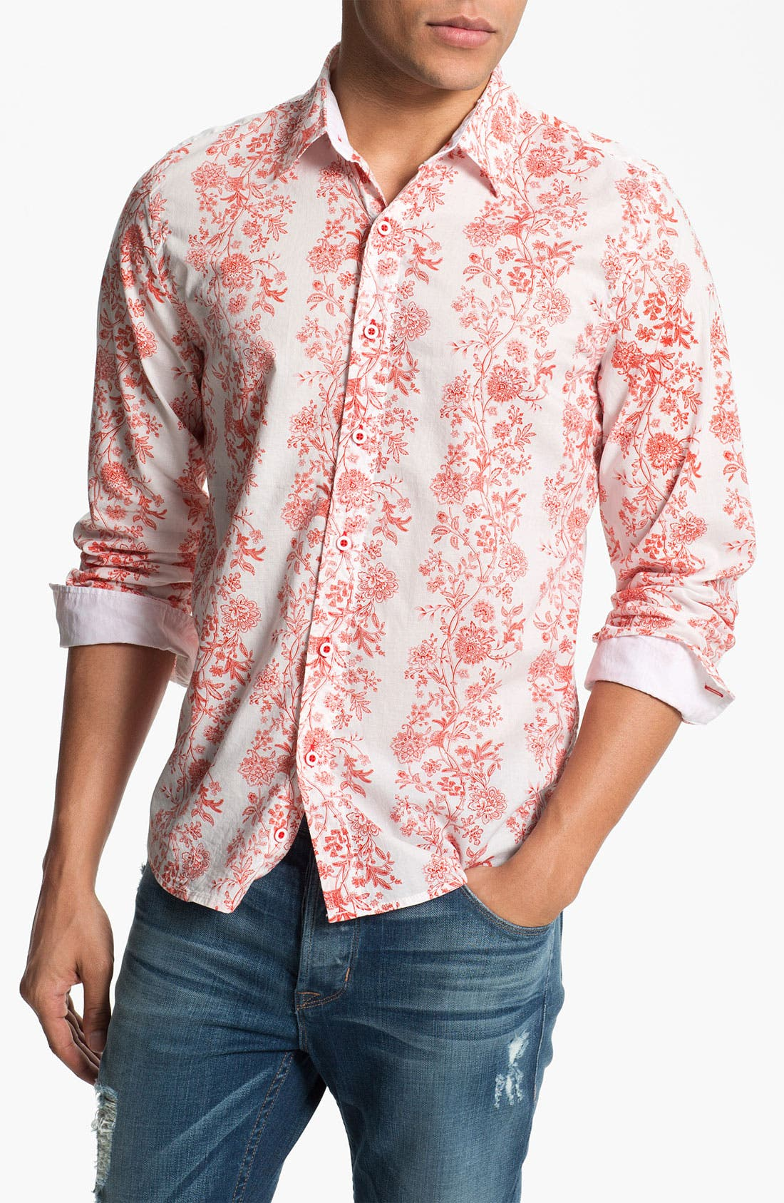 Alternate Image 1 Selected - Vintage Red 'Bistro' Floral Print Woven Shirt