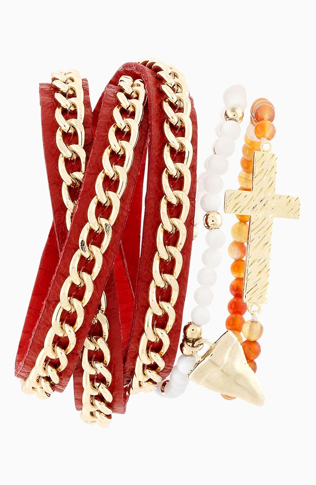 Alternate Image 2  - Cara Cross & Bead Stretch Bracelet