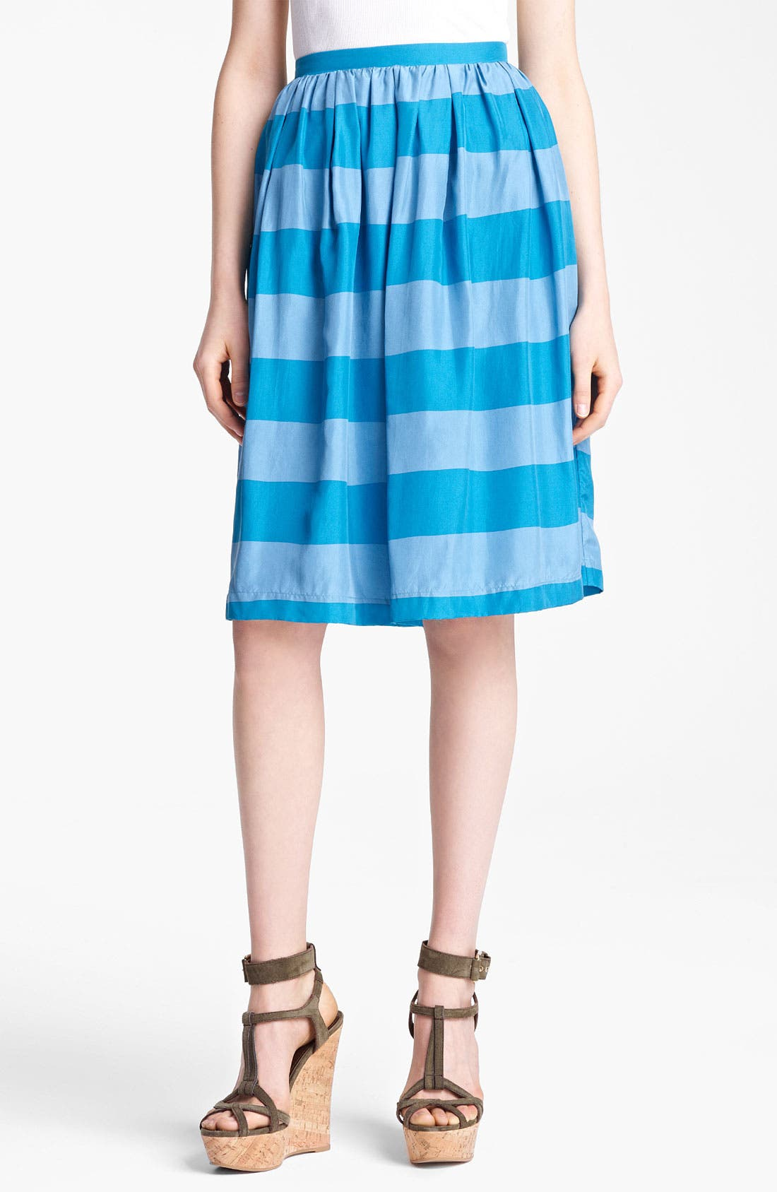 Alternate Image 1 Selected - Burberry Brit Stripe Silk Skirt (Online Only)