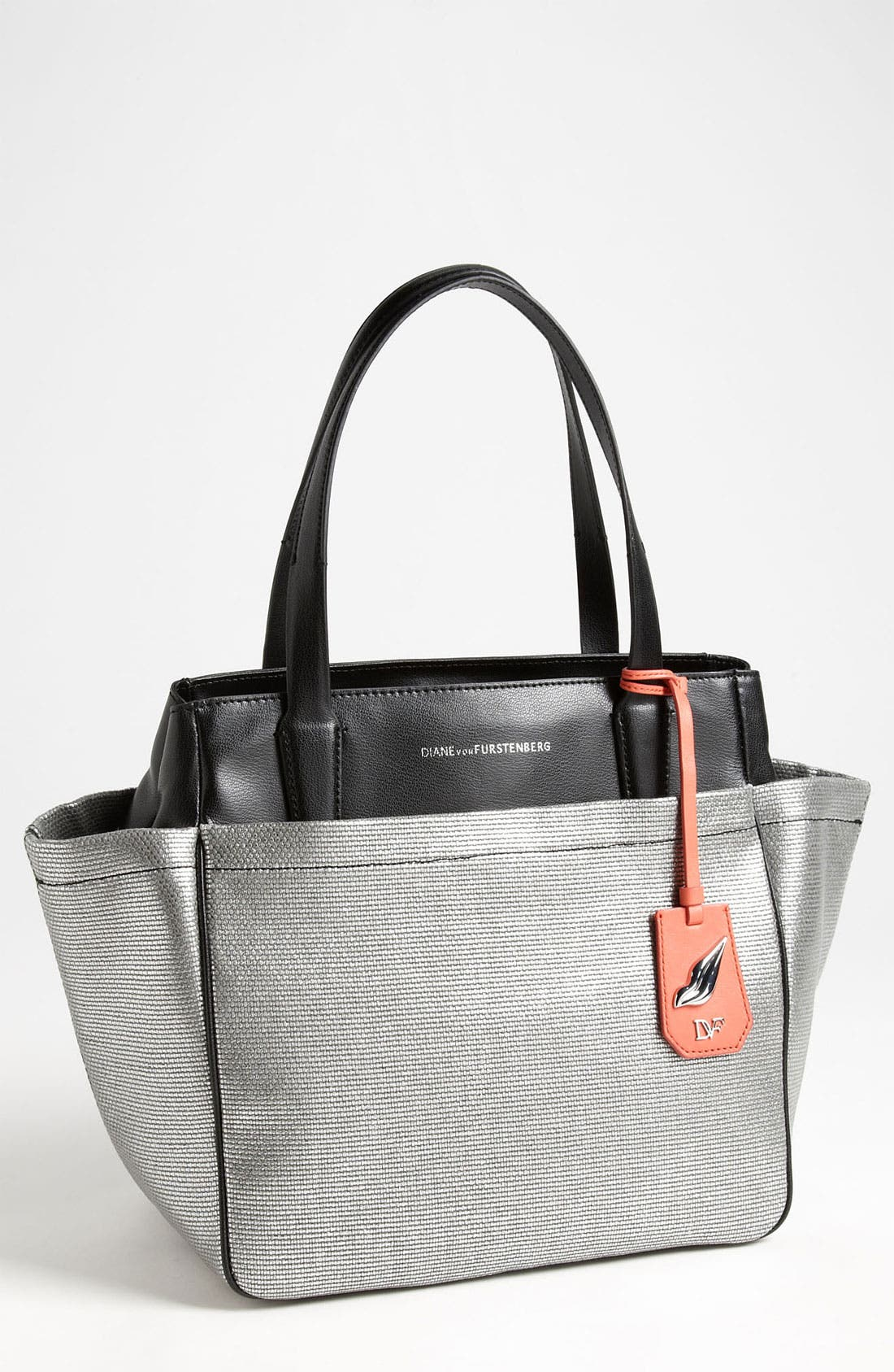 Main Image - Diane von Furstenberg 'On The Go' Metallic Canvas & Leather Tote